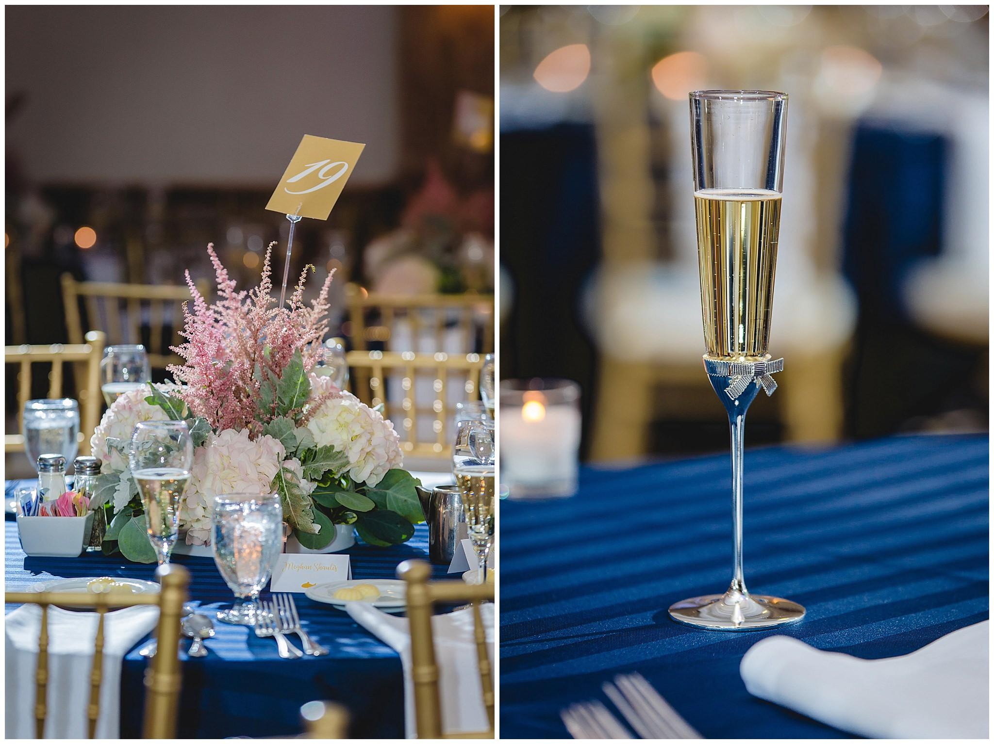 Navy and gold reception decor at Hidden Valley Resort