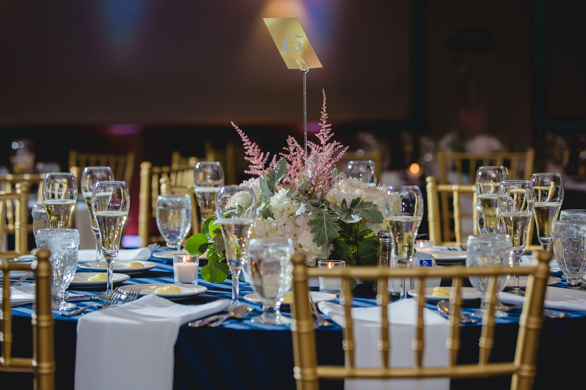 Centerpieces with gold accents at Hidden Valley Resort