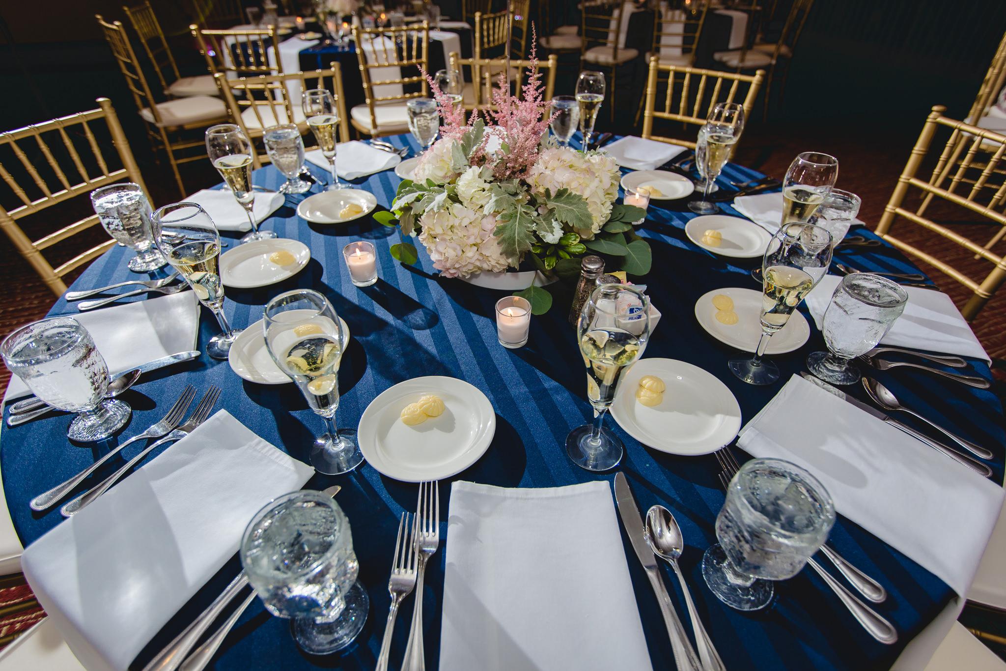 Table settings at a Hidden Valley Resort wedding reception