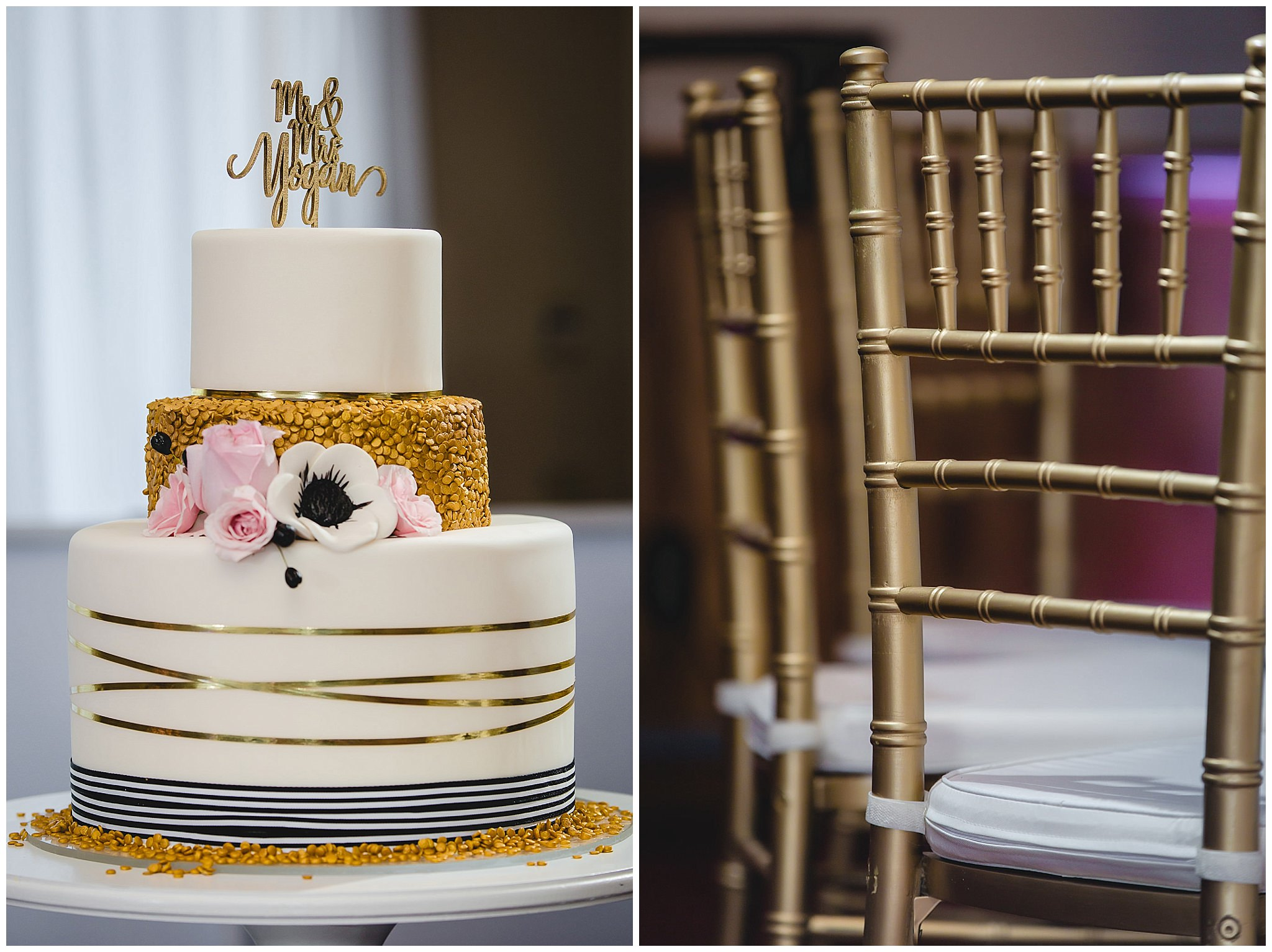 Gold and white wedding cake with gold accent chairs at Hidden Valley Resort
