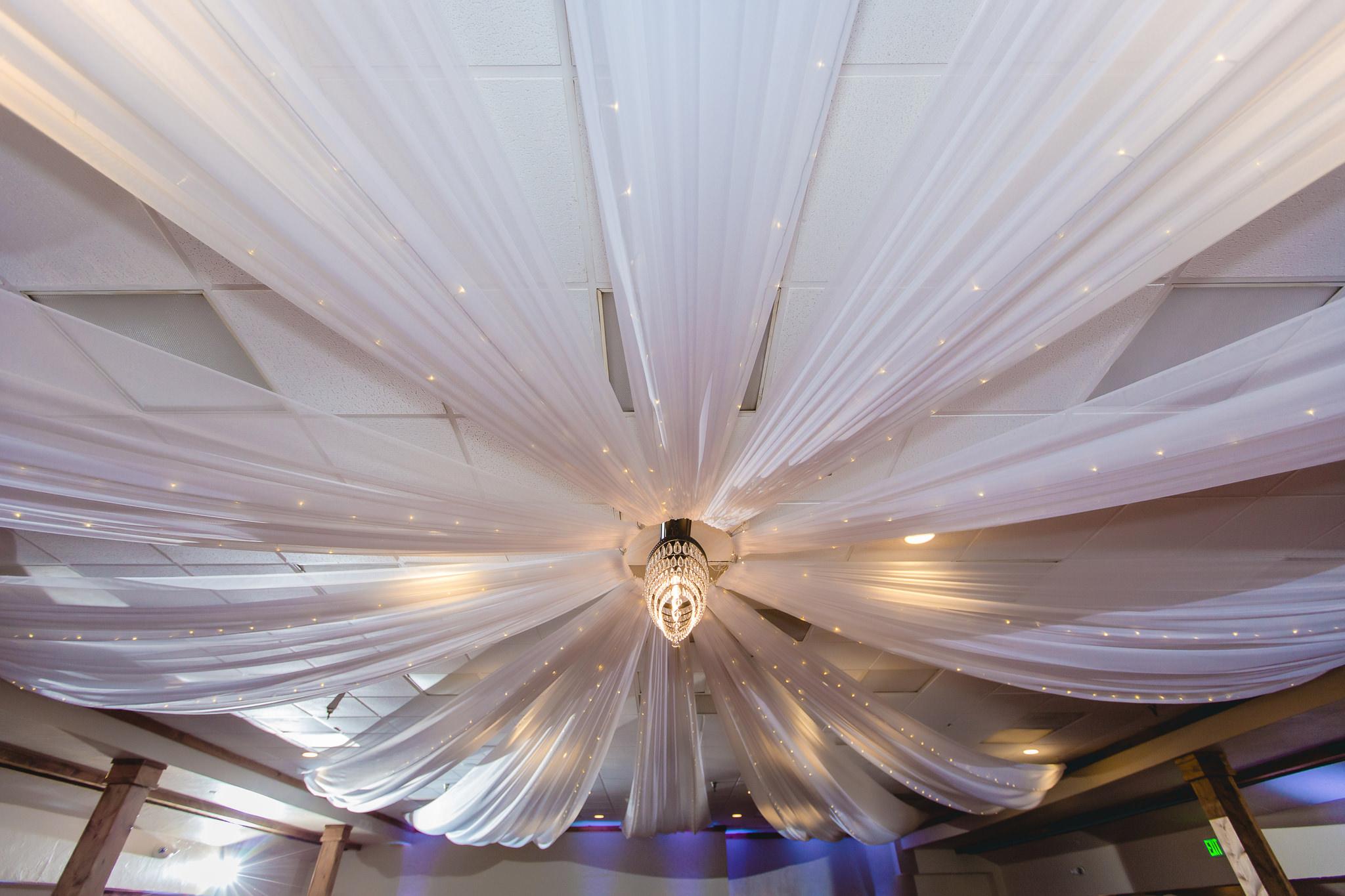 Ribbon streams from the chandelier at Hidden Valley Resort