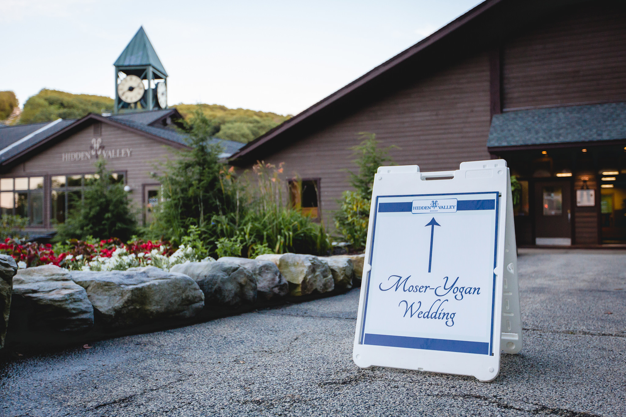 Welcome sign outside a wedding reception at Hidden Valley Resort