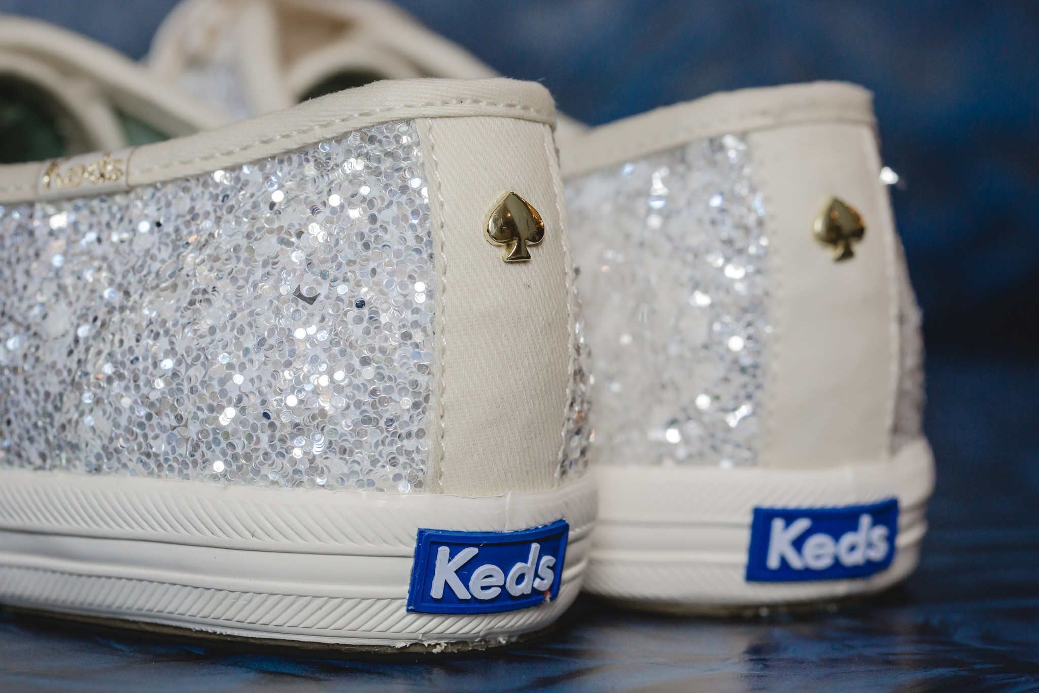Bride's sparkly white Keds at Pittsburgh Airport Marriott