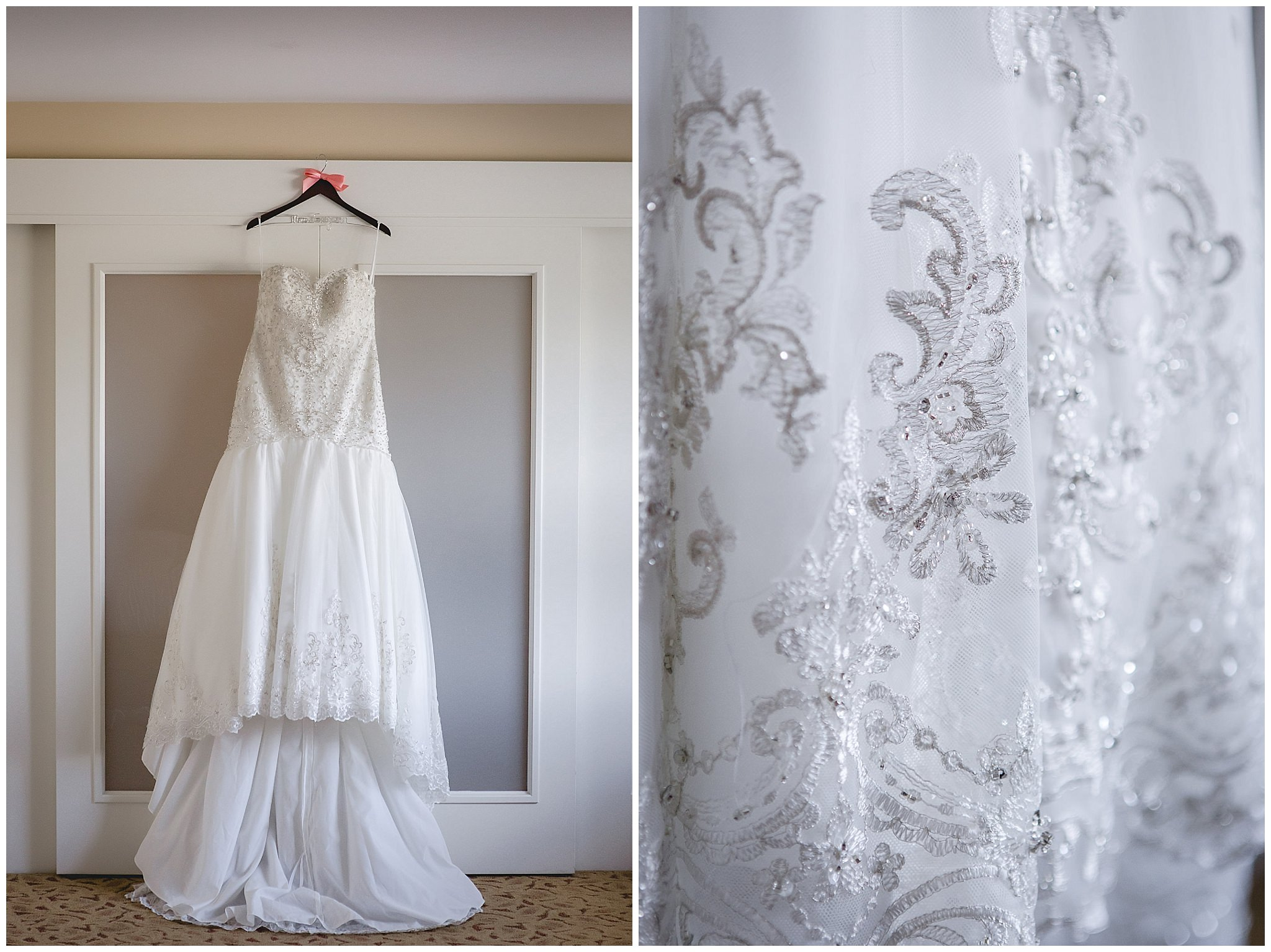 Wedding dress hangs in a suite at the Pittsburgh Airport Marriott