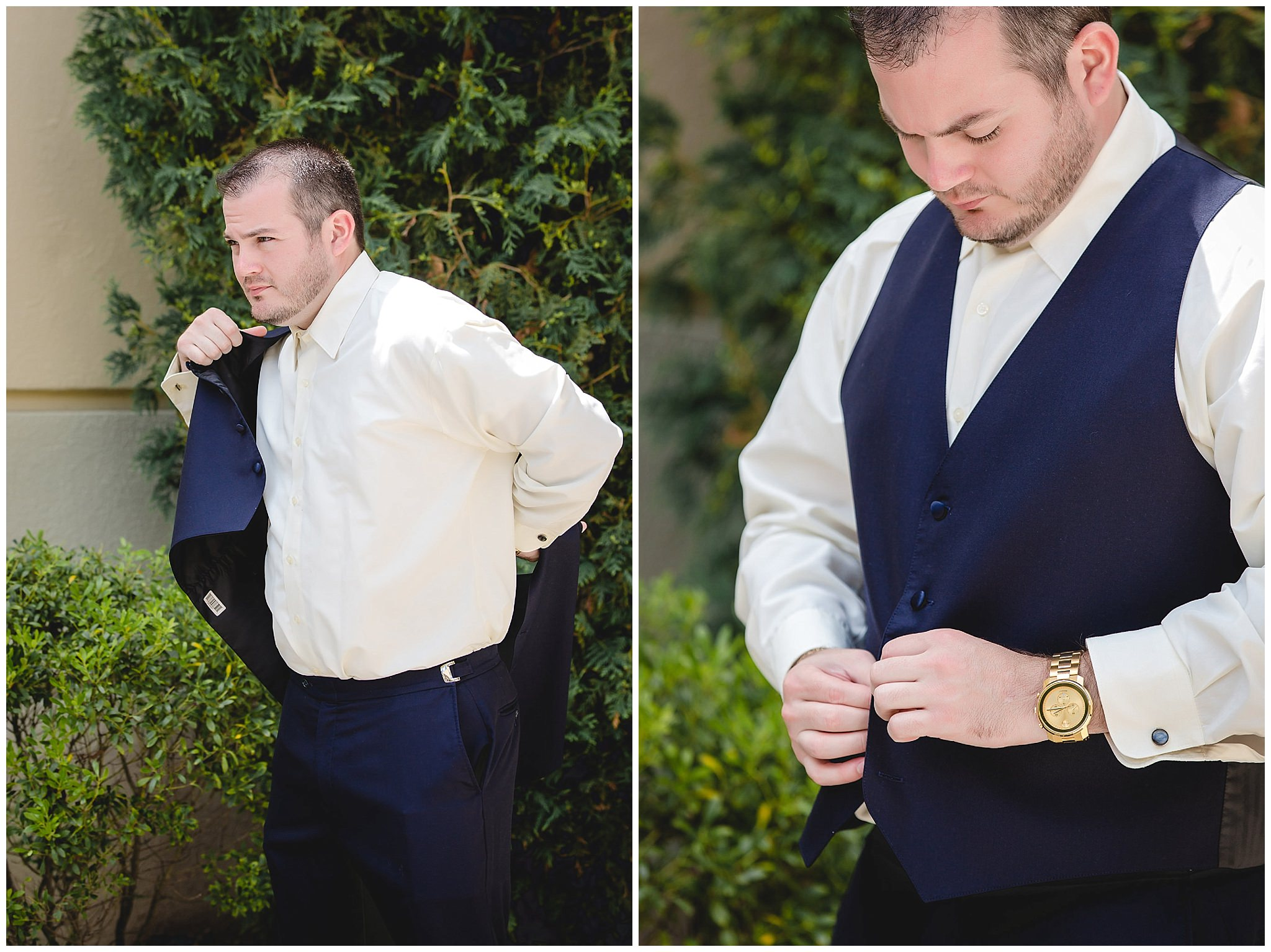 Groom puts on his vest before his Pittsburgh Airport Marriott wedding ceremony