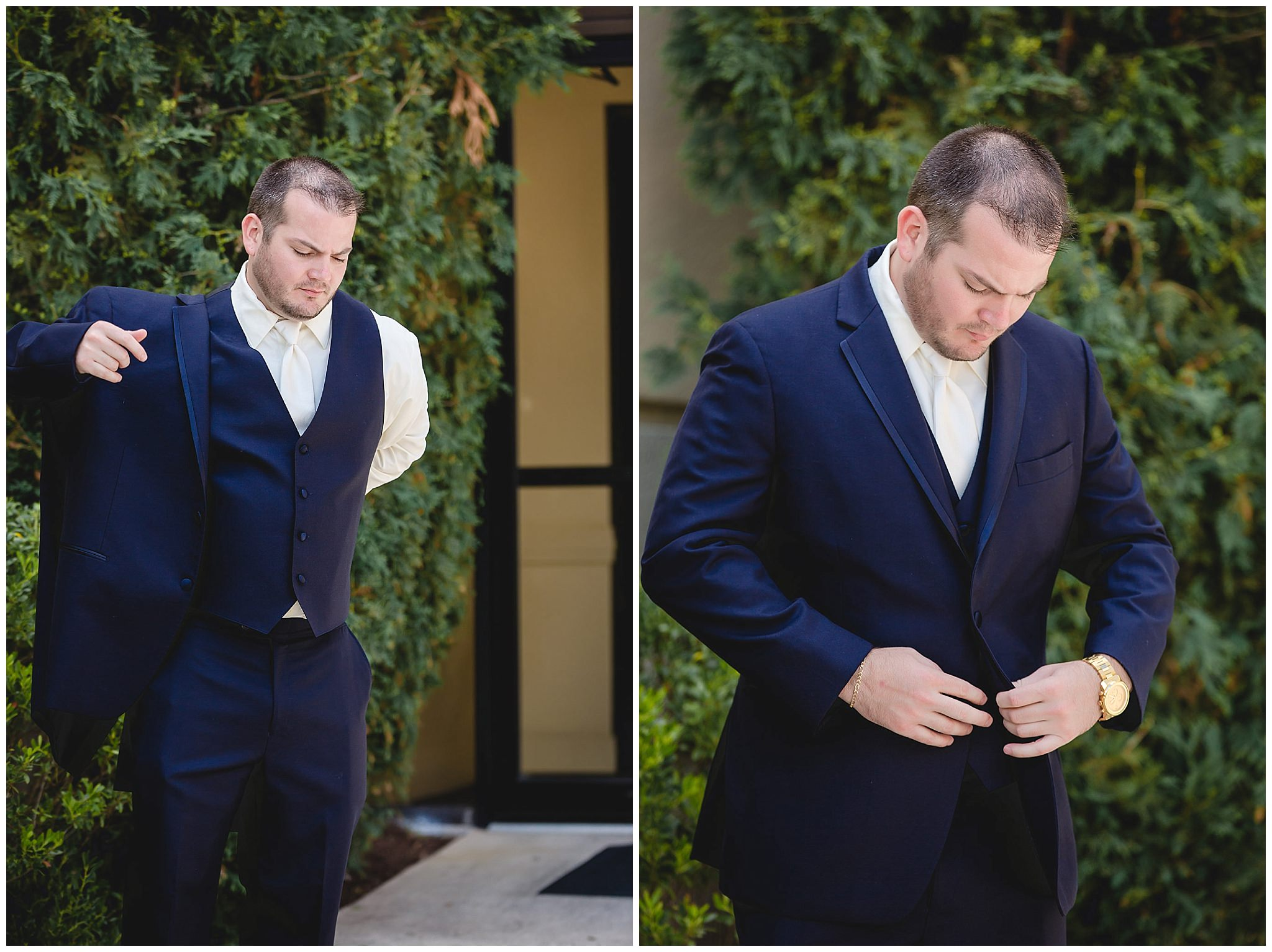 Groom puts on his suit coat before his ceremony at the Pittsburgh Airport Marriott