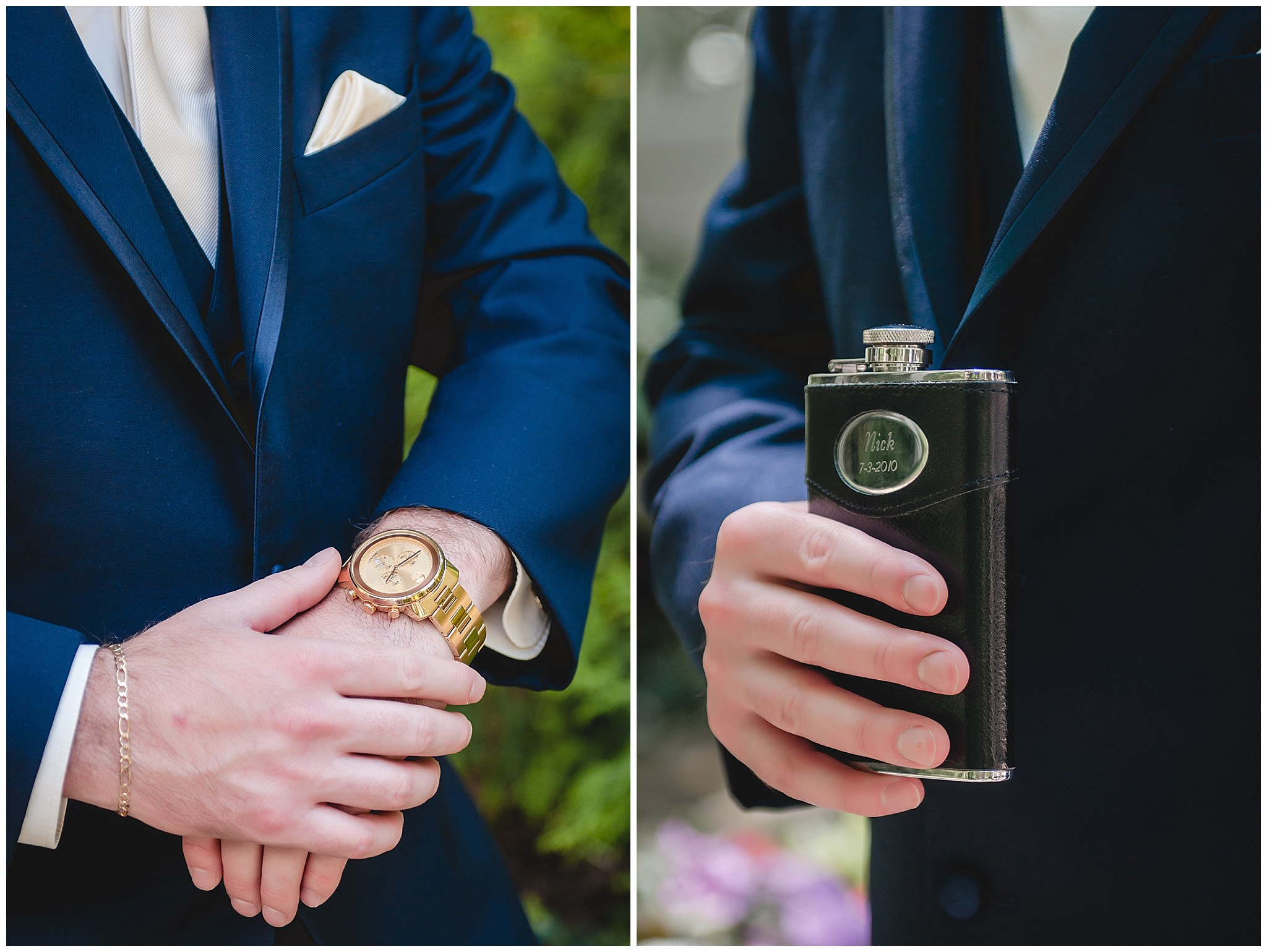 Groom shoes off his watch and custom flask