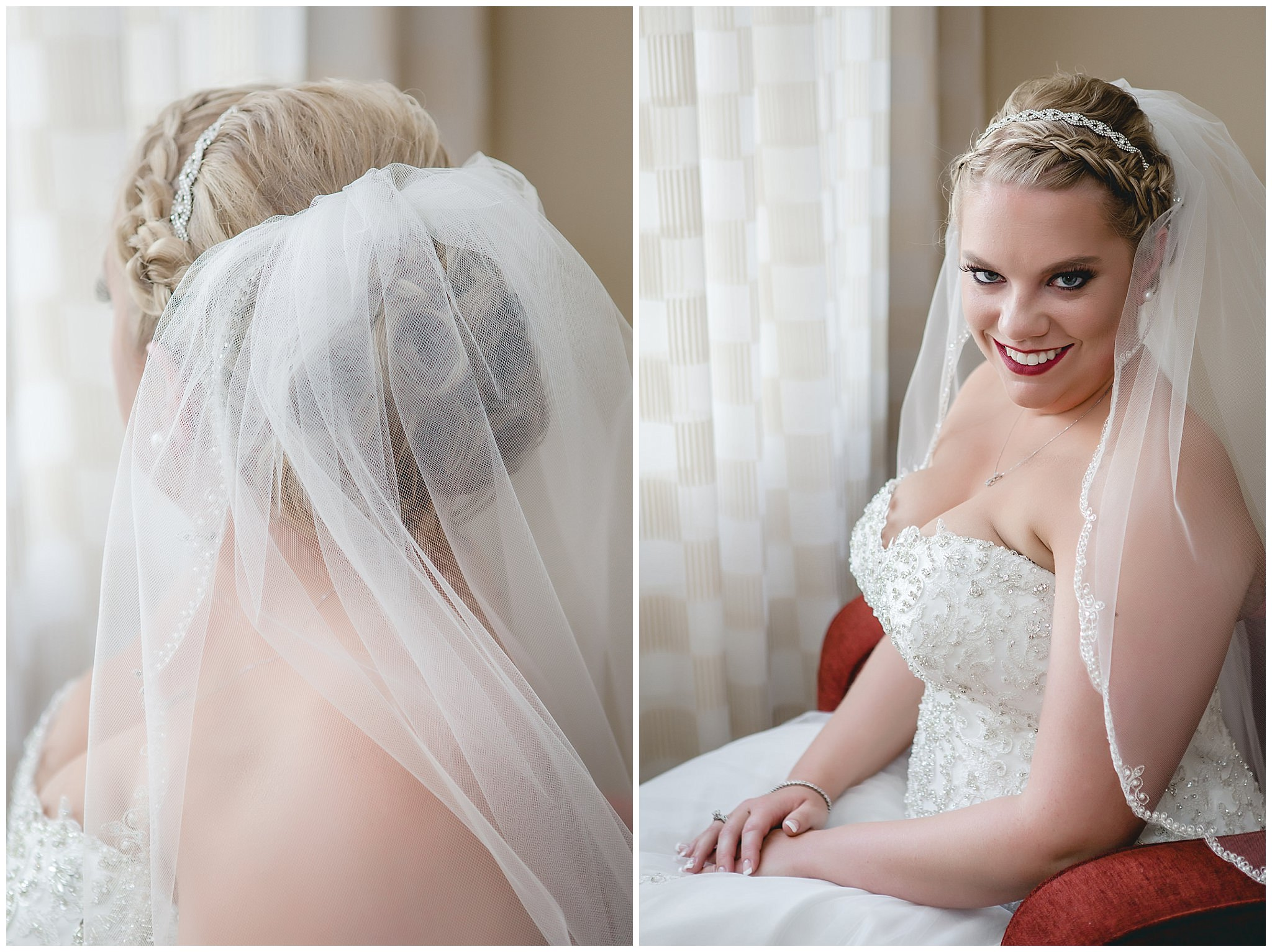 Bride poses in beautiful window light at the Pittsburgh Airport Marriott