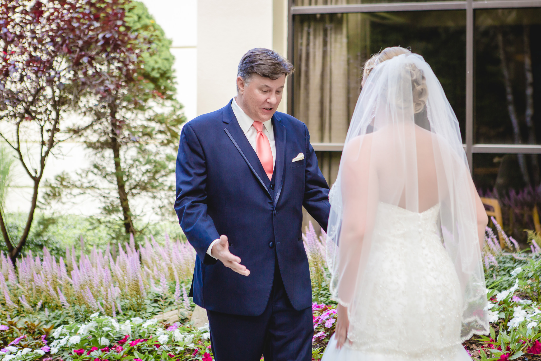 Dad reacting seeing his daughter dressed as a bride for the first time