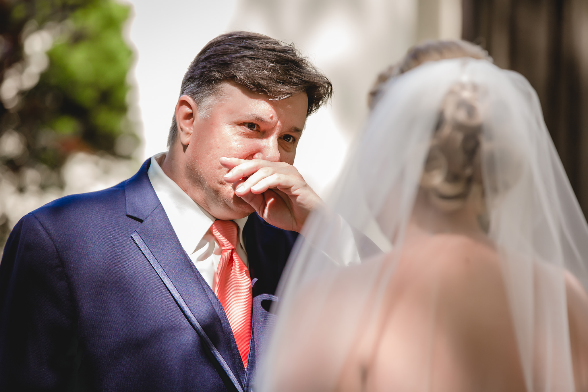 Dad can't believe how beautiful his daughter looks as a bride