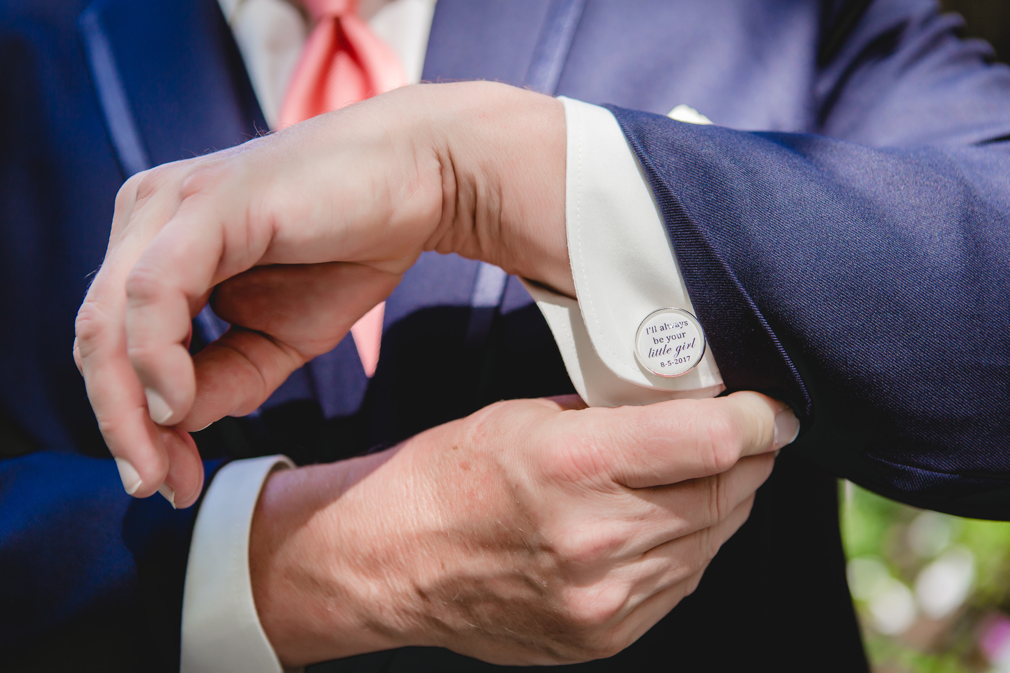 Father of the bride shows off his custom cufflinks