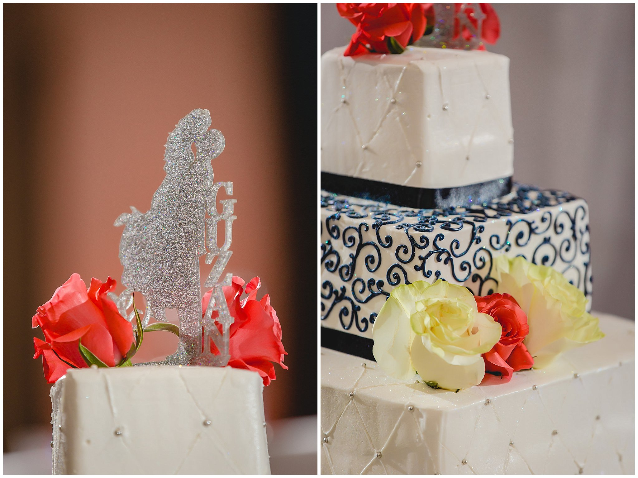 Cake topper and floral details by Carol's Cakes at the Pittsburgh Airport Marriott