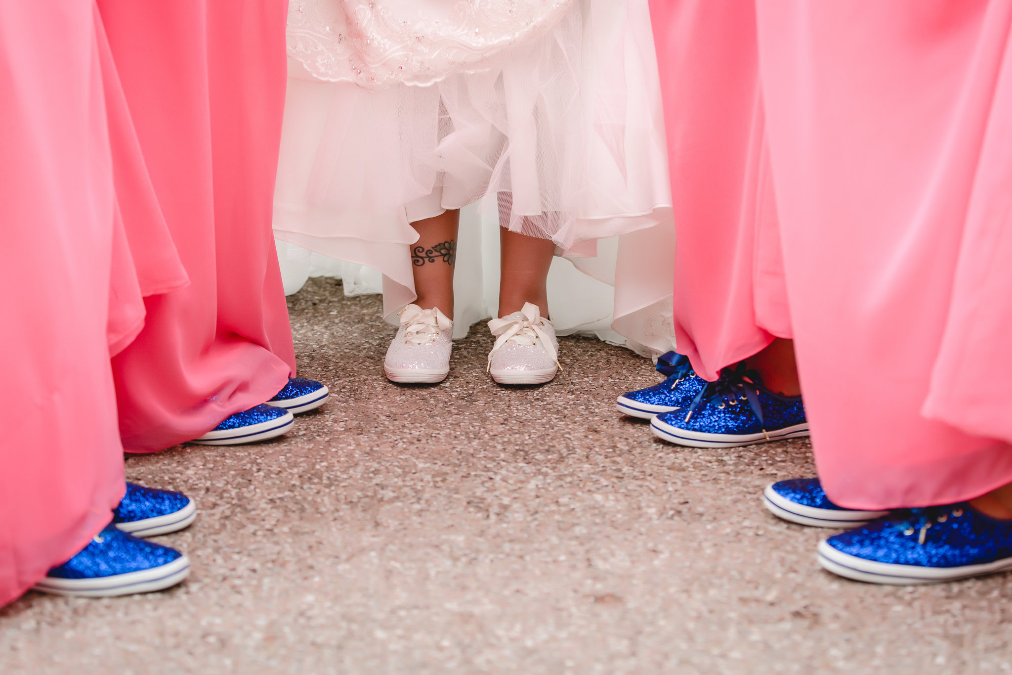 Bride and bridesmaids show off their sparkly Keds