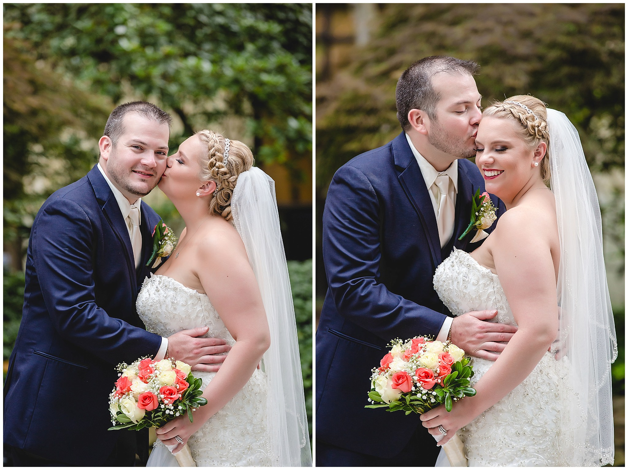 Bride and groom give each other kisses in the courtyard of the Pittsburgh Airport Marriott