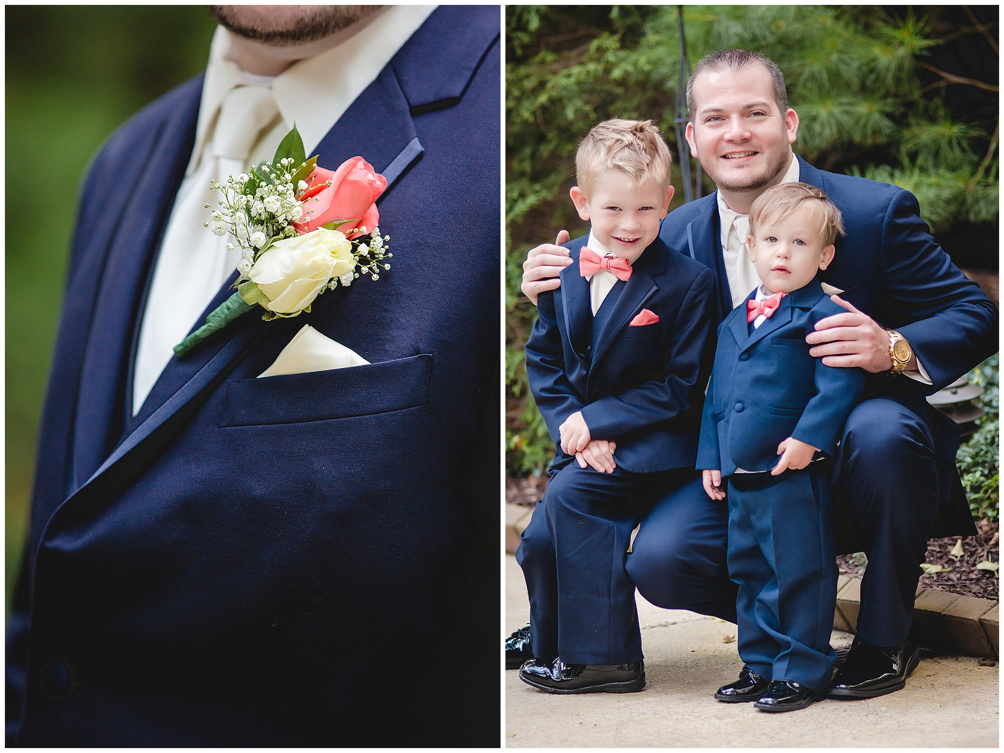 Groom poses with his ring bearers at the Pittsburgh Airport Marriott