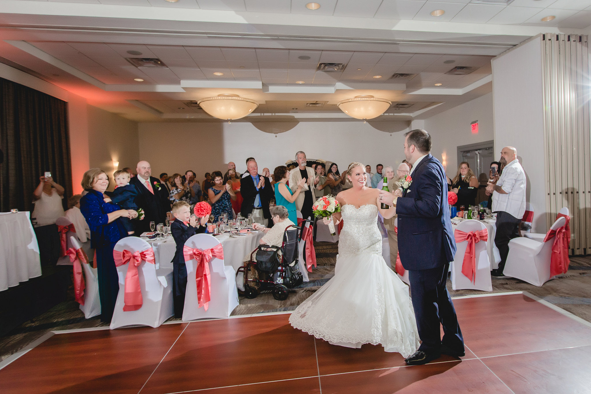 Newlyweds are announced into their reception at the Pittsburgh Airport Marriott