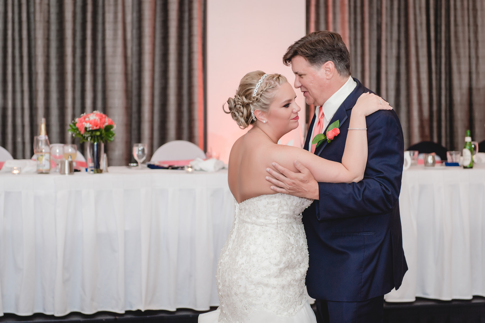 Bride dances with her father in the Three Rivers Room of the Pittsburgh Airport Marriott