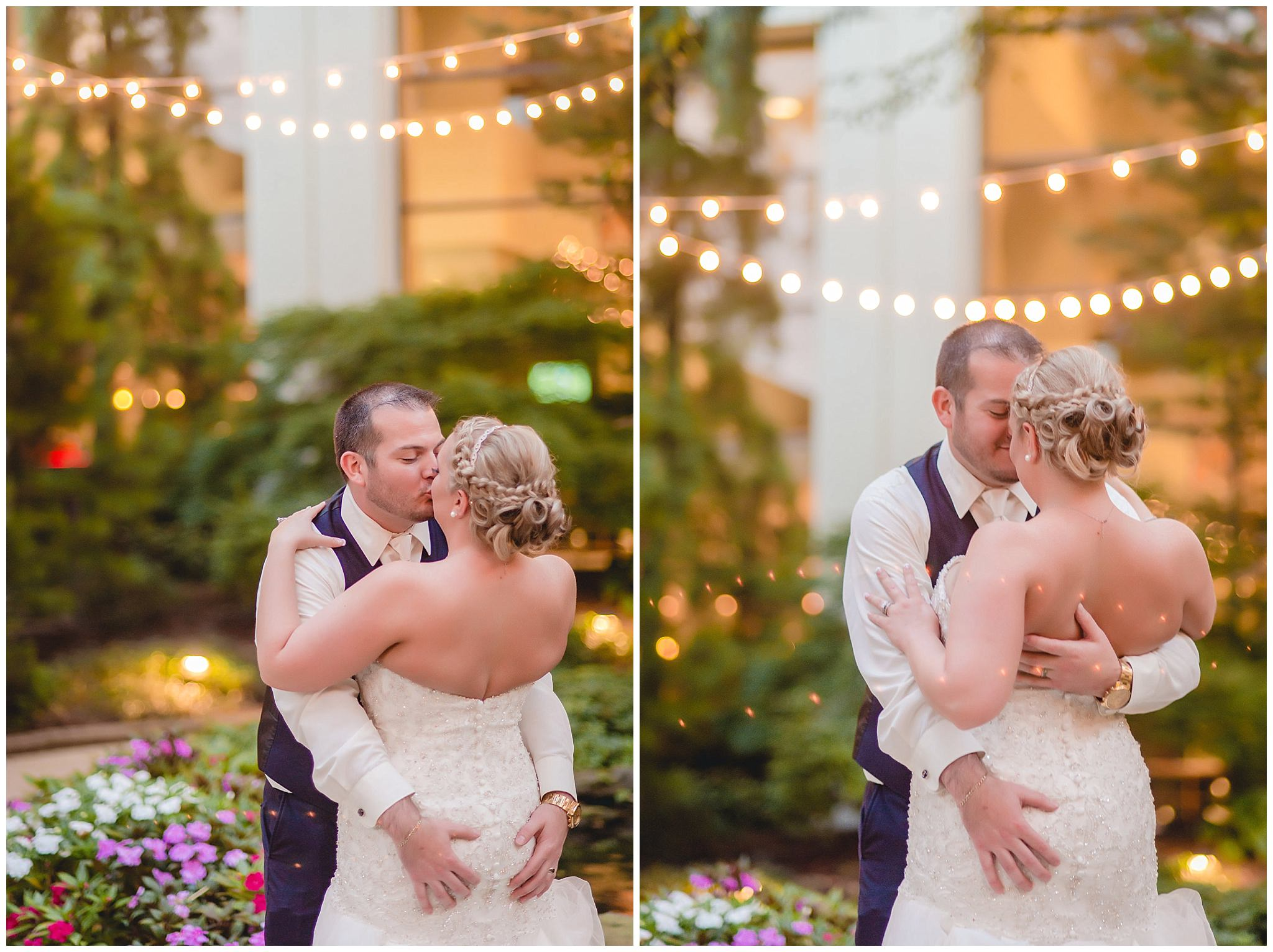 Groom playfully grabs his bride during evening portraits at the Pittsburgh Airport Marriott