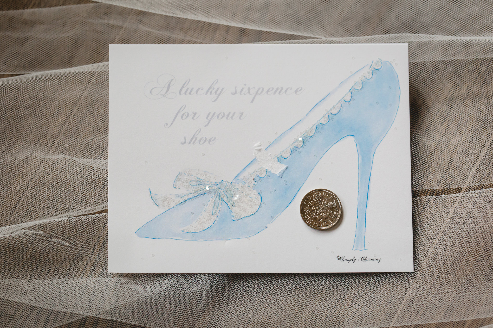 Sixpence will be placed in the bride's shoe before her ceremony at the Gathering Place at Darlington Lake