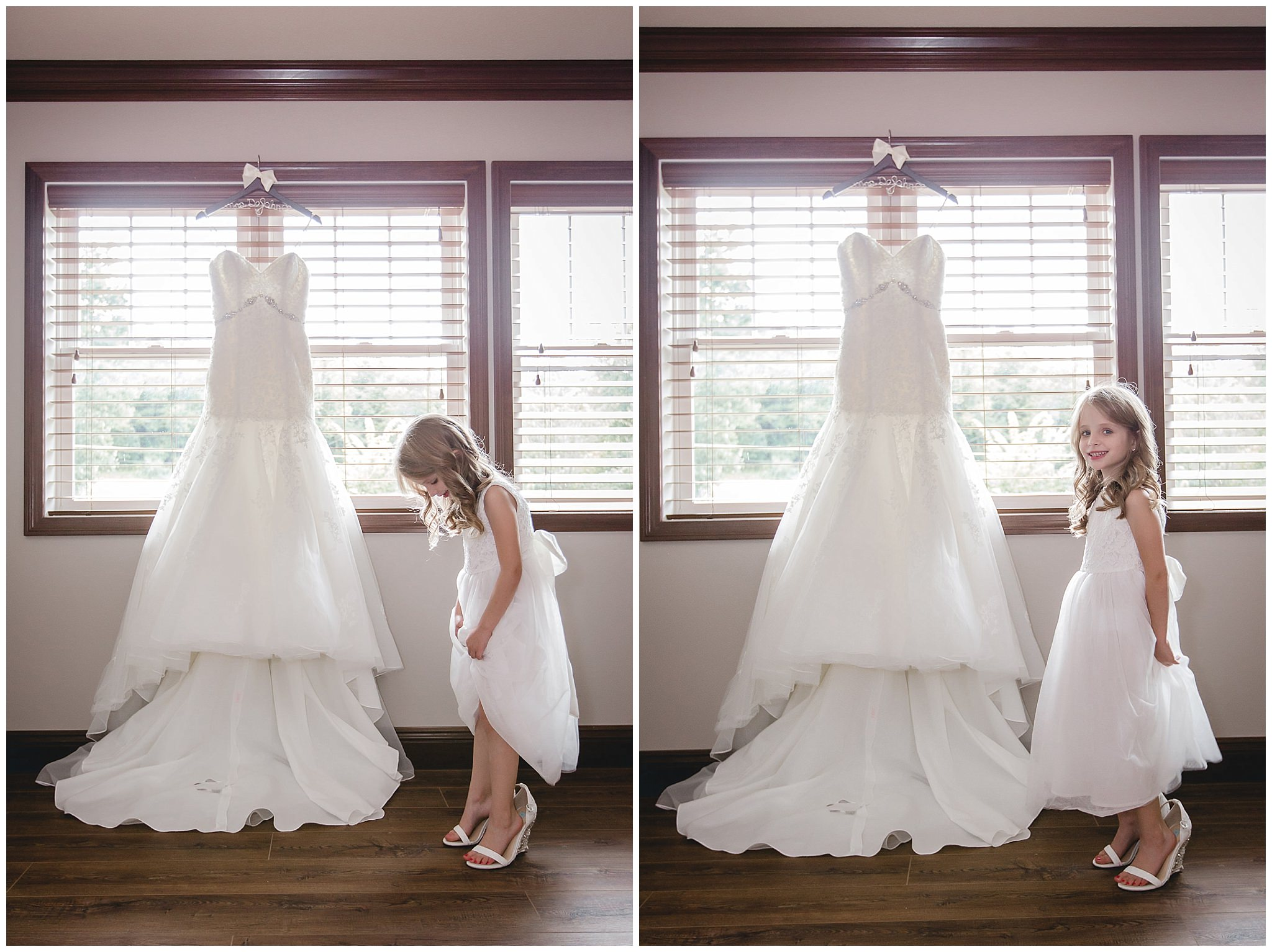 Flower girl tries on the bride's shoes next to her Alfred Angelo wedding gown