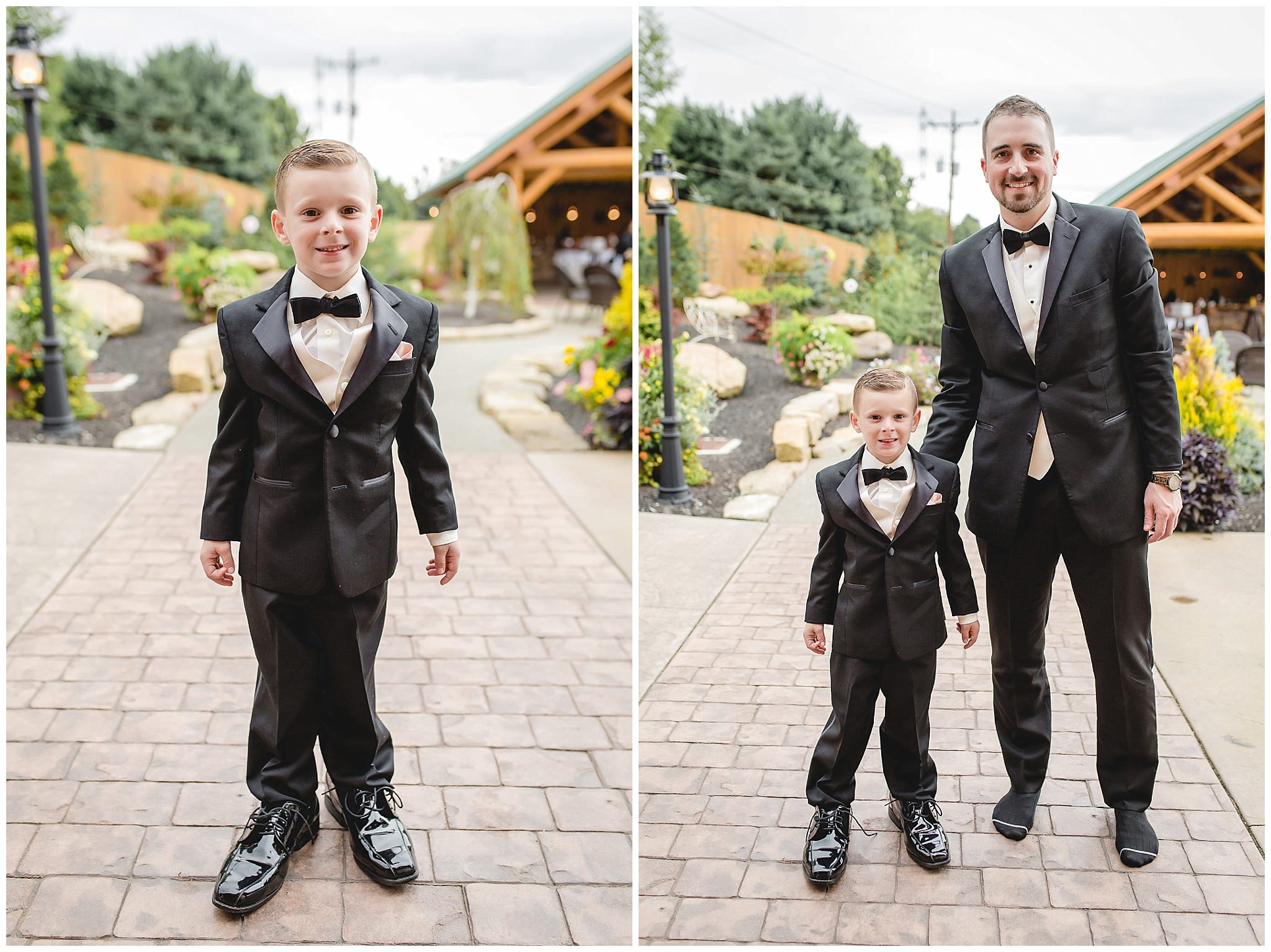 Ring bearer tries on the groom's shoes at the Gathering Place at Darlington Lake