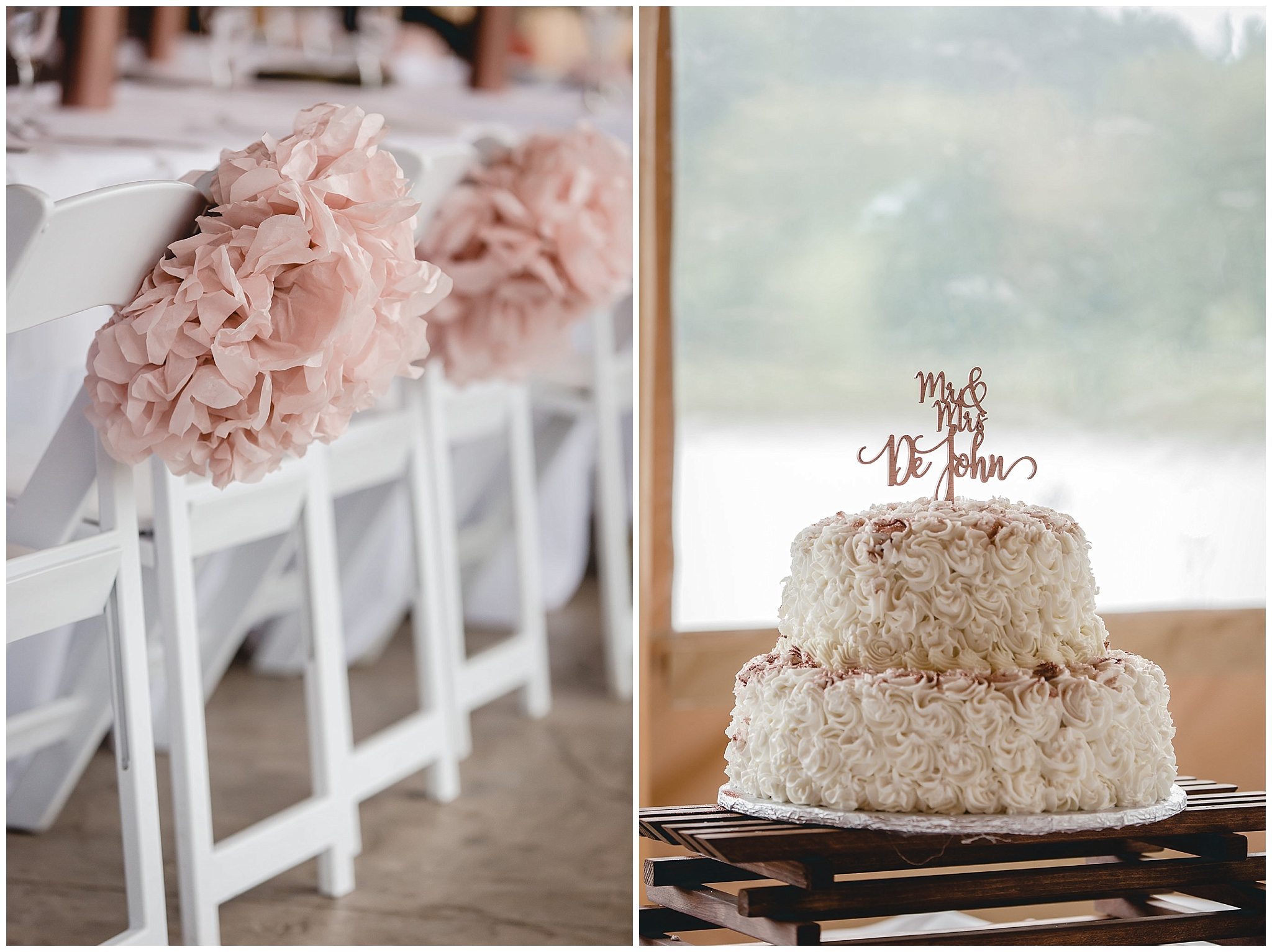 Blush pink details and a wedding cake at the Gathering Place at Darlington Lake
