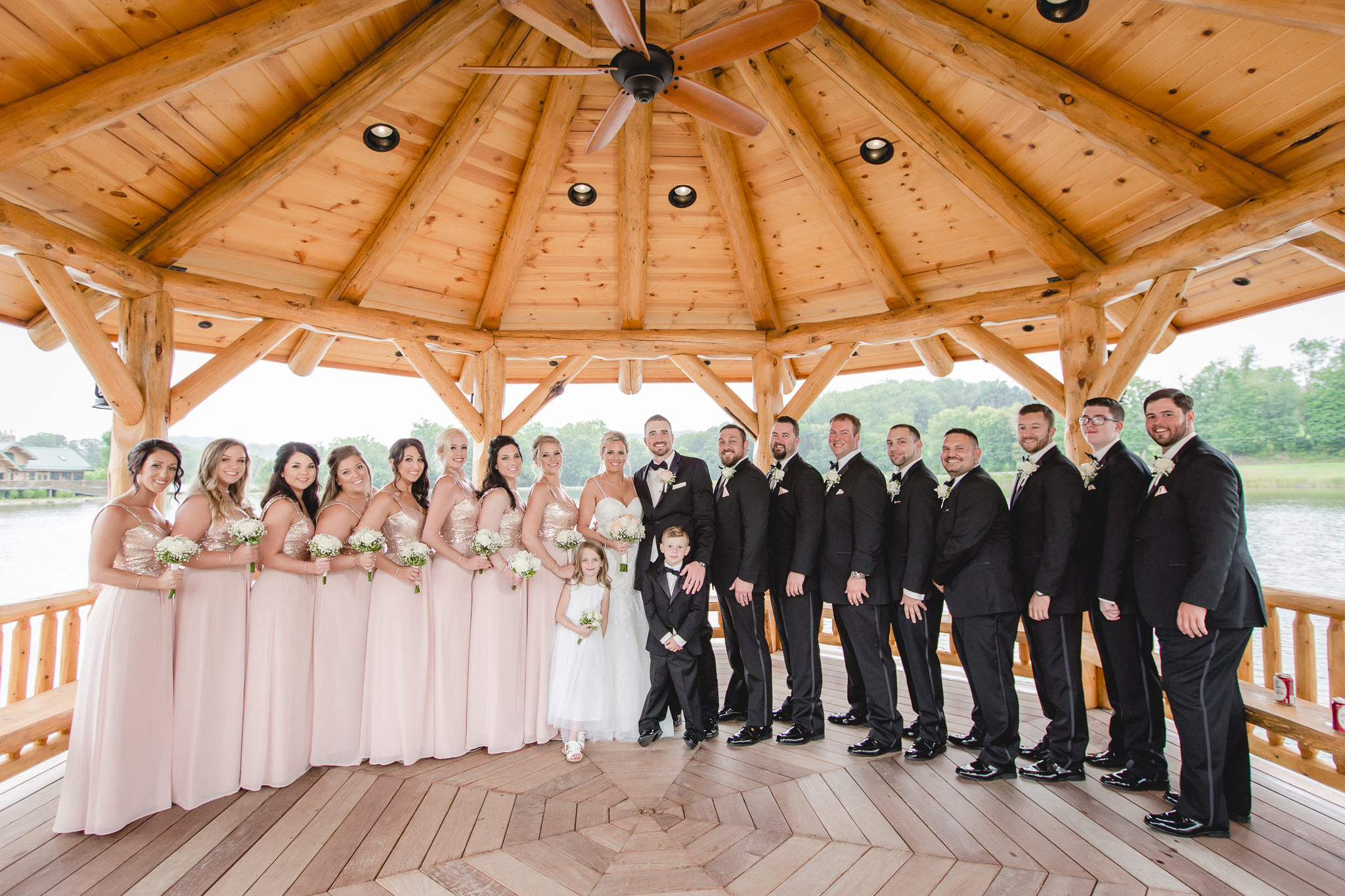 Bridal party in the gazebo at the Gathering Place at Darlington Lake