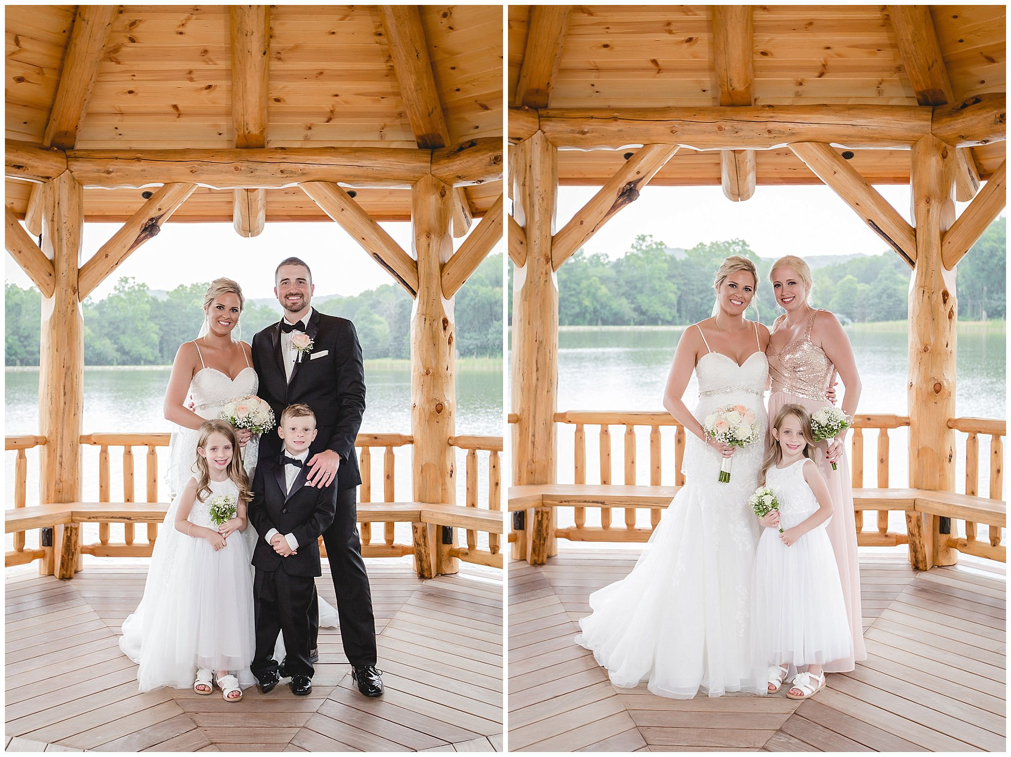 Bride and groom pose with the flower girl and ring bearer in a gazebo