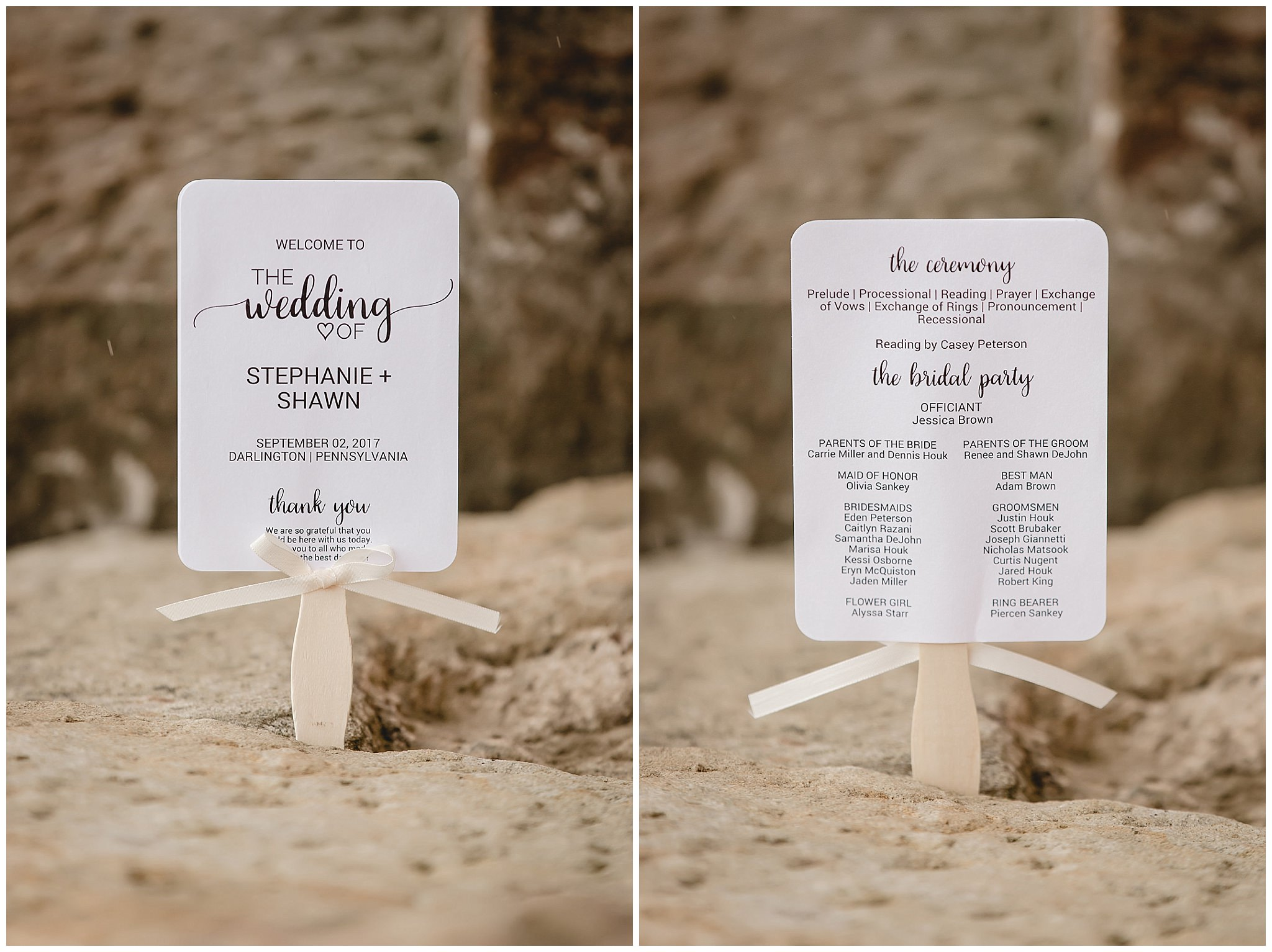 Wedding programs at the Gathering Place at Darlington Lake