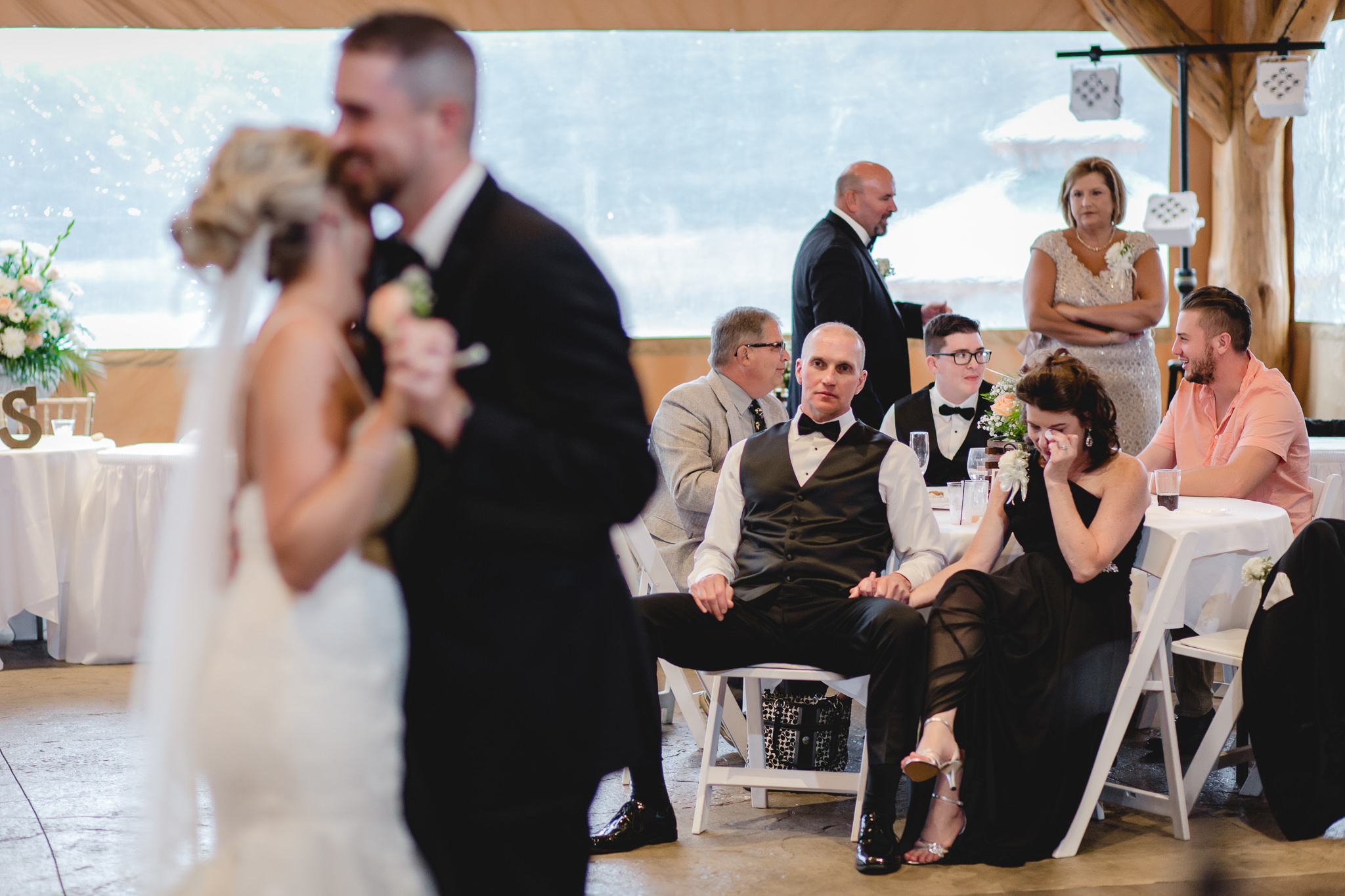 Mother of the groom cries during newlyweds' first dance at the Gathering Place at Darlington Lake