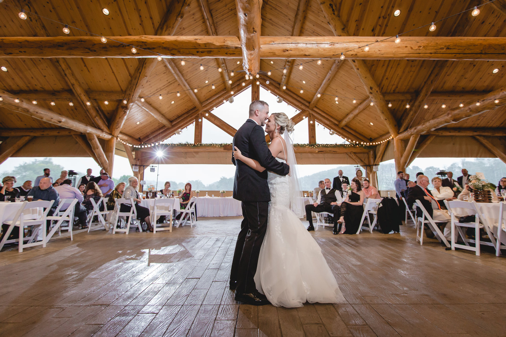 Newlyweds' first dance at the Gathering Place at Darlington Lake