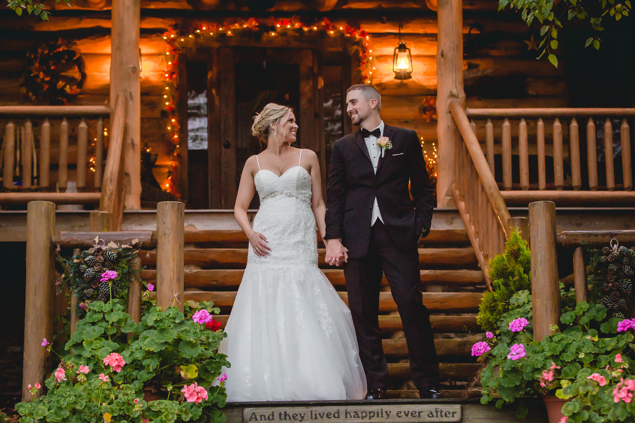 Bride and groom at the cabin at the Gathering Place at Darlington Lake