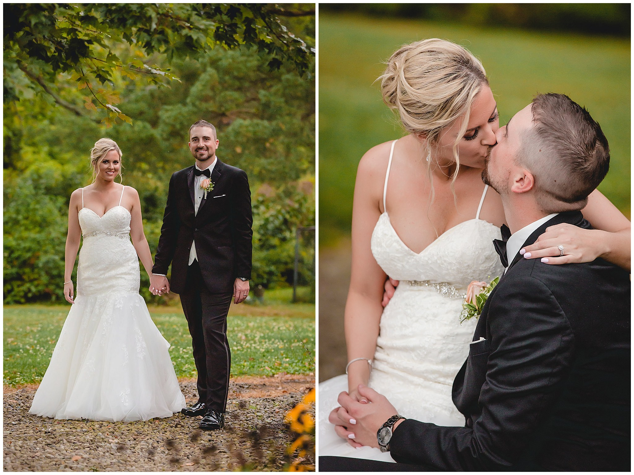 Newlyweds at the Gathering Place at Darlington Lake for their September wedding