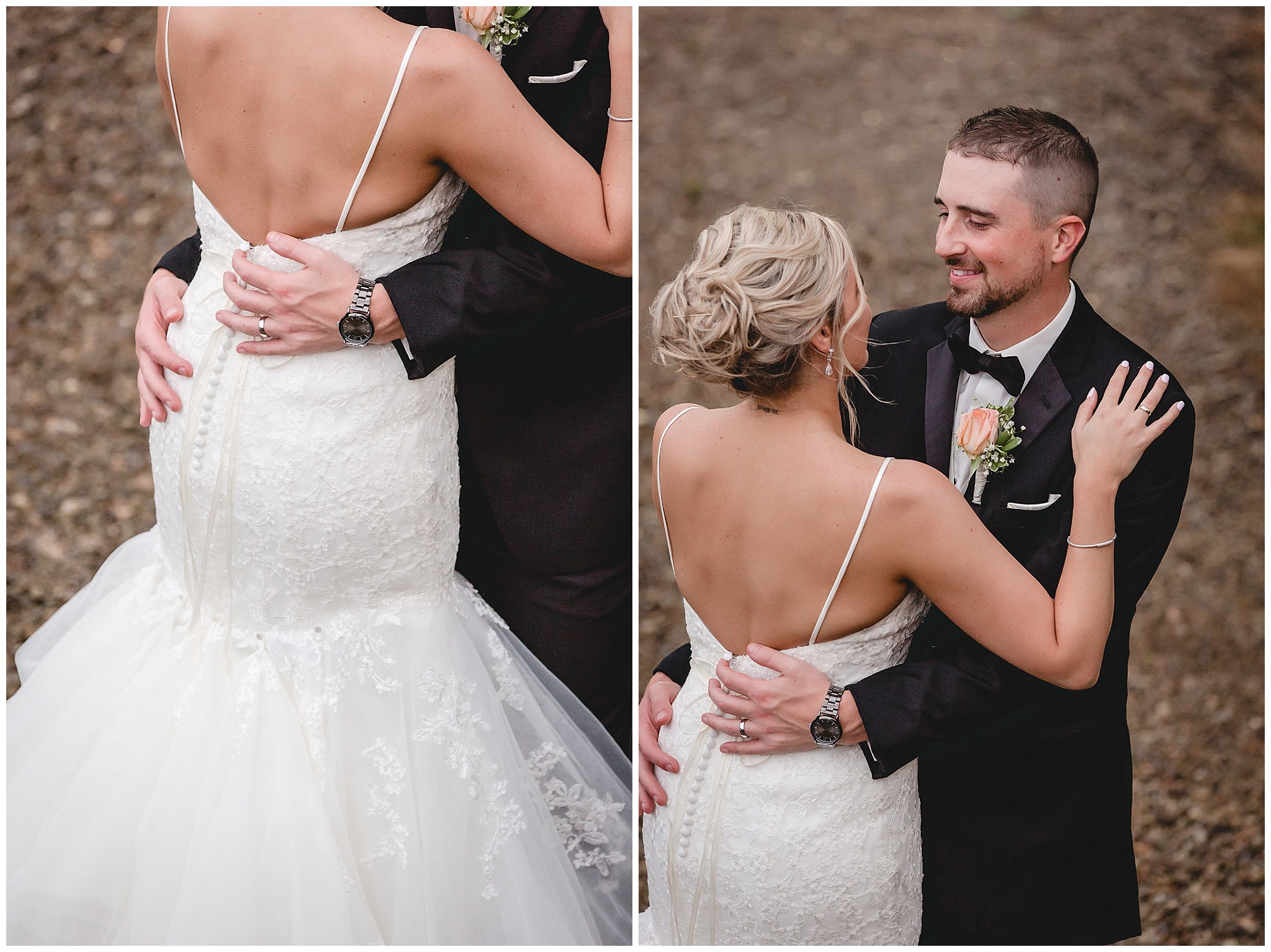 Groom holds his bride at their September wedding at the Gathering Place at Darlington Lake