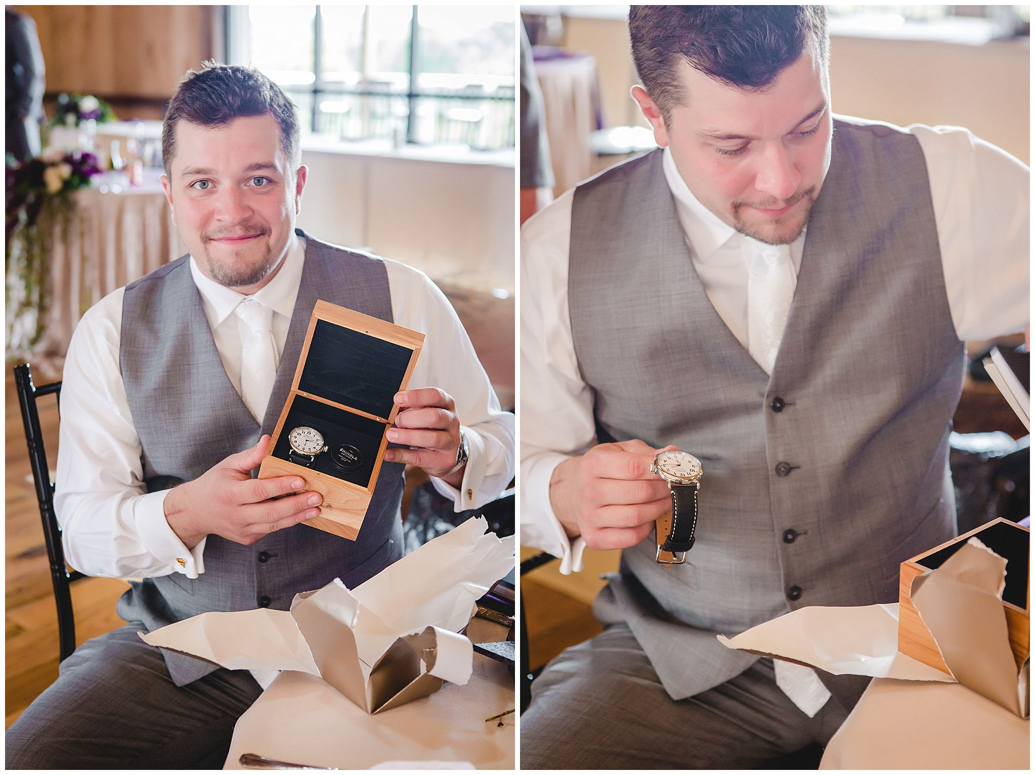 Groom receives a new watch as a gift from his bride at White Barn