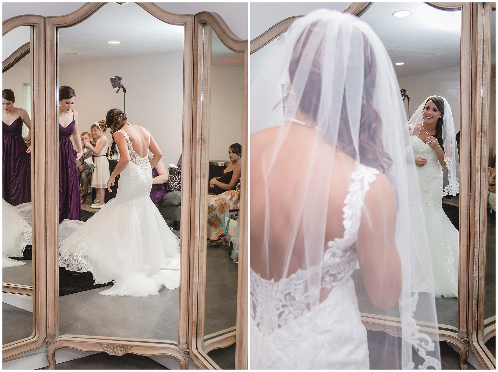Bride looks at herself in the mirror after getting ready at White Barn