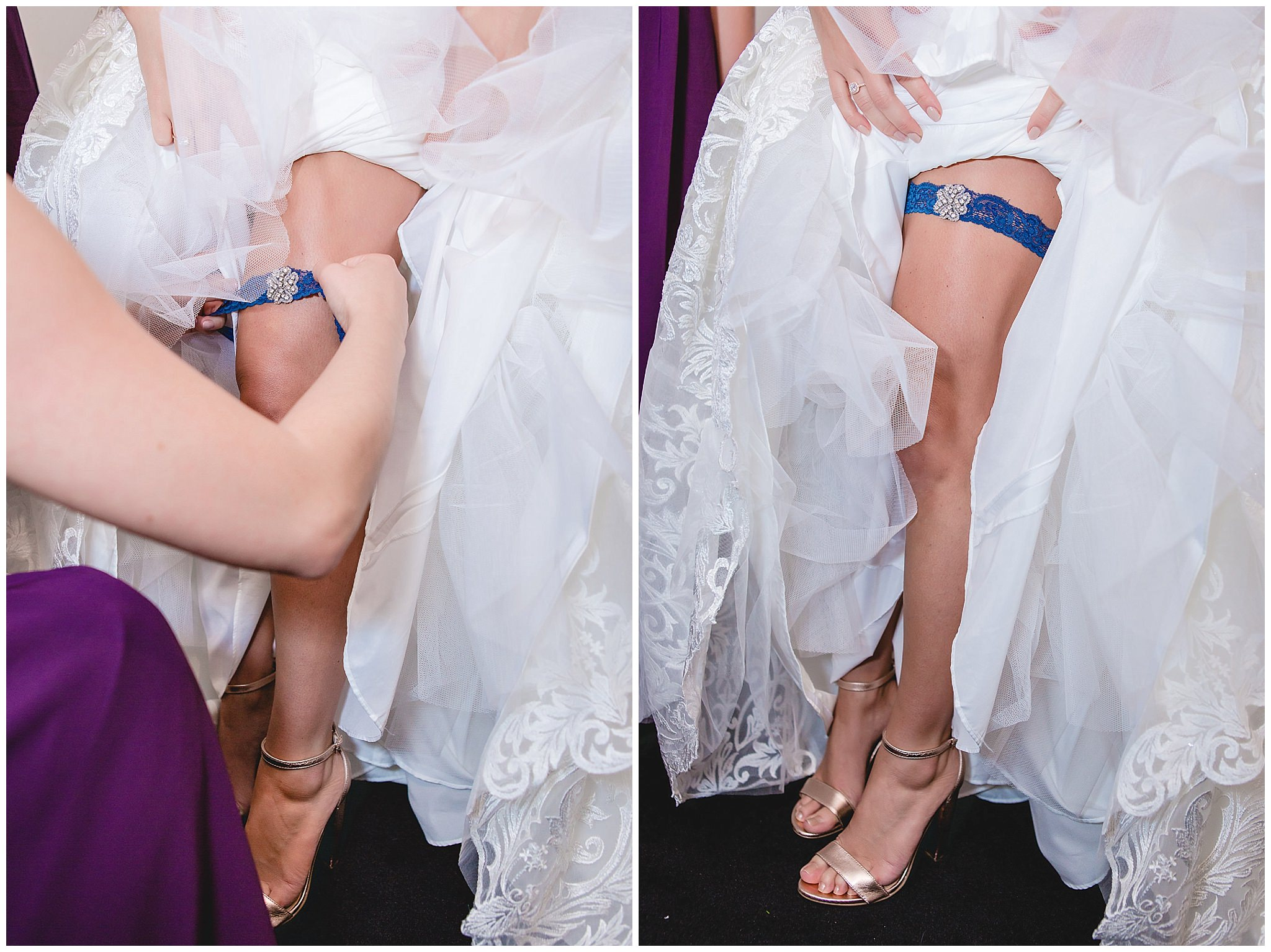 Bridesmaid puts the garter on the bride at White Barn