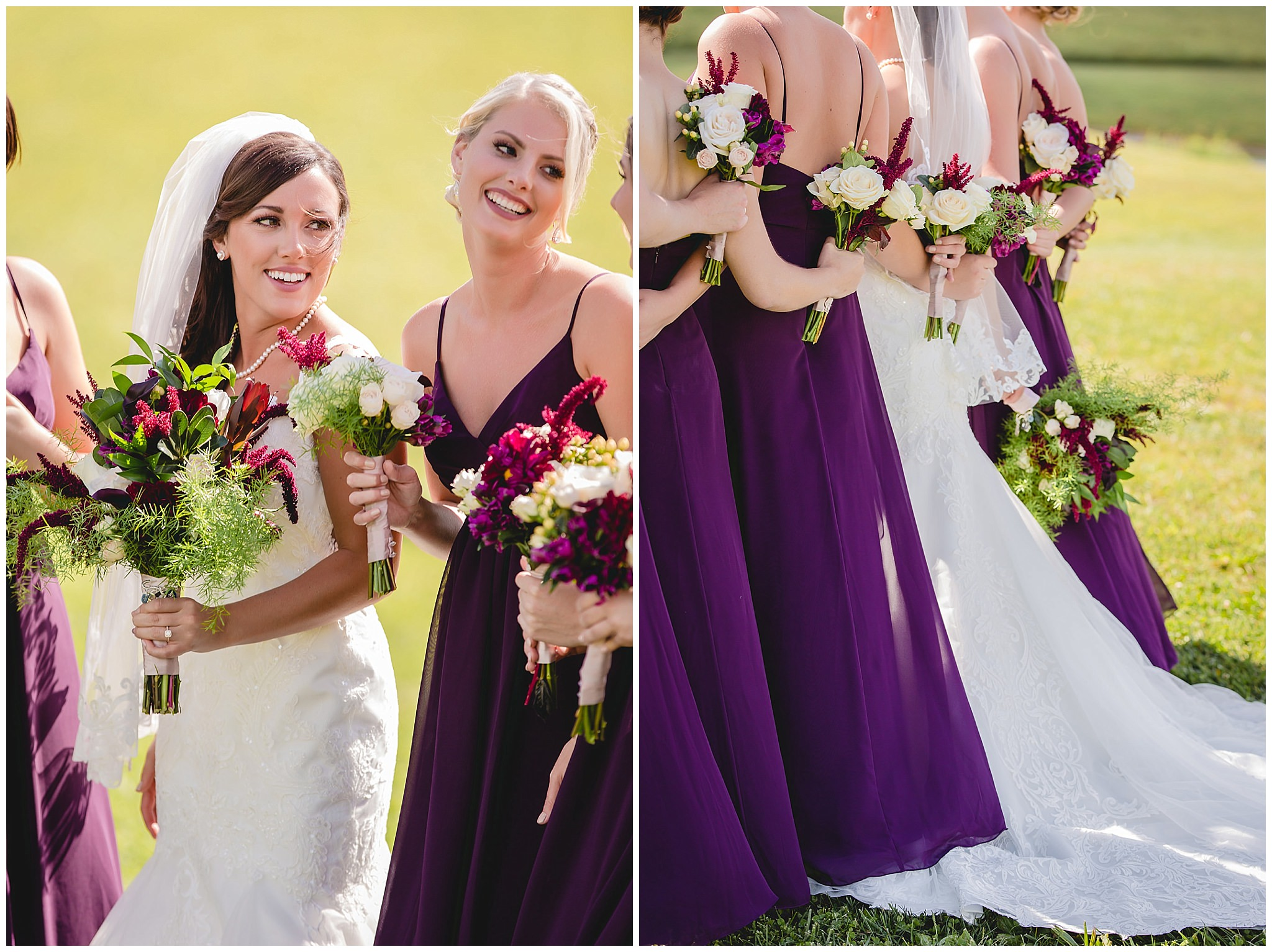 Bride laughs with bridesmaids while holding bouquets by Events by Jarrod