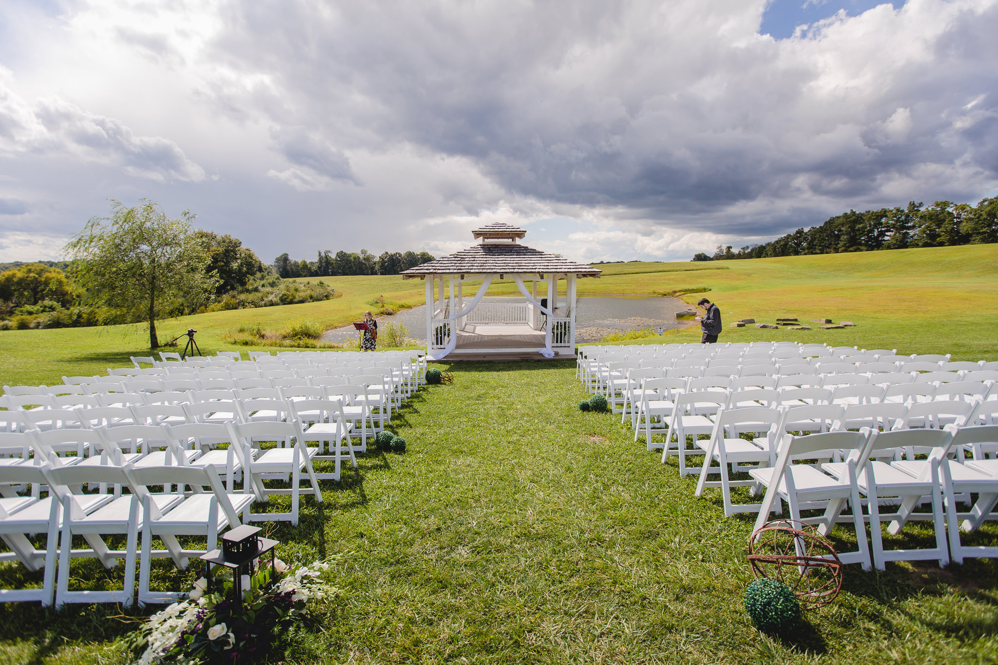 Outdoor ceremony setup at White Barn in Prospect PA