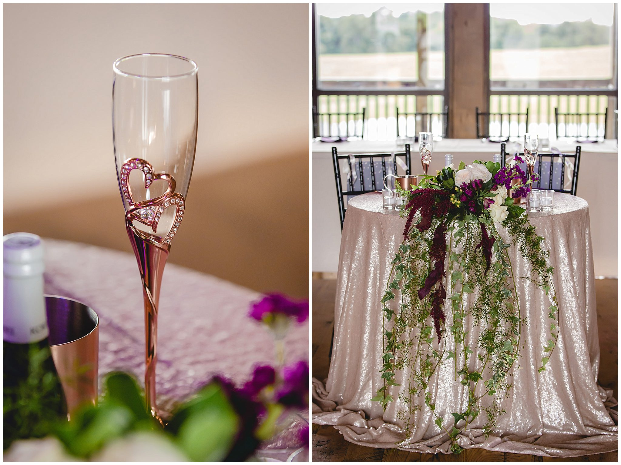 Rose gold champagne flutes and head table with floral details at White Barn