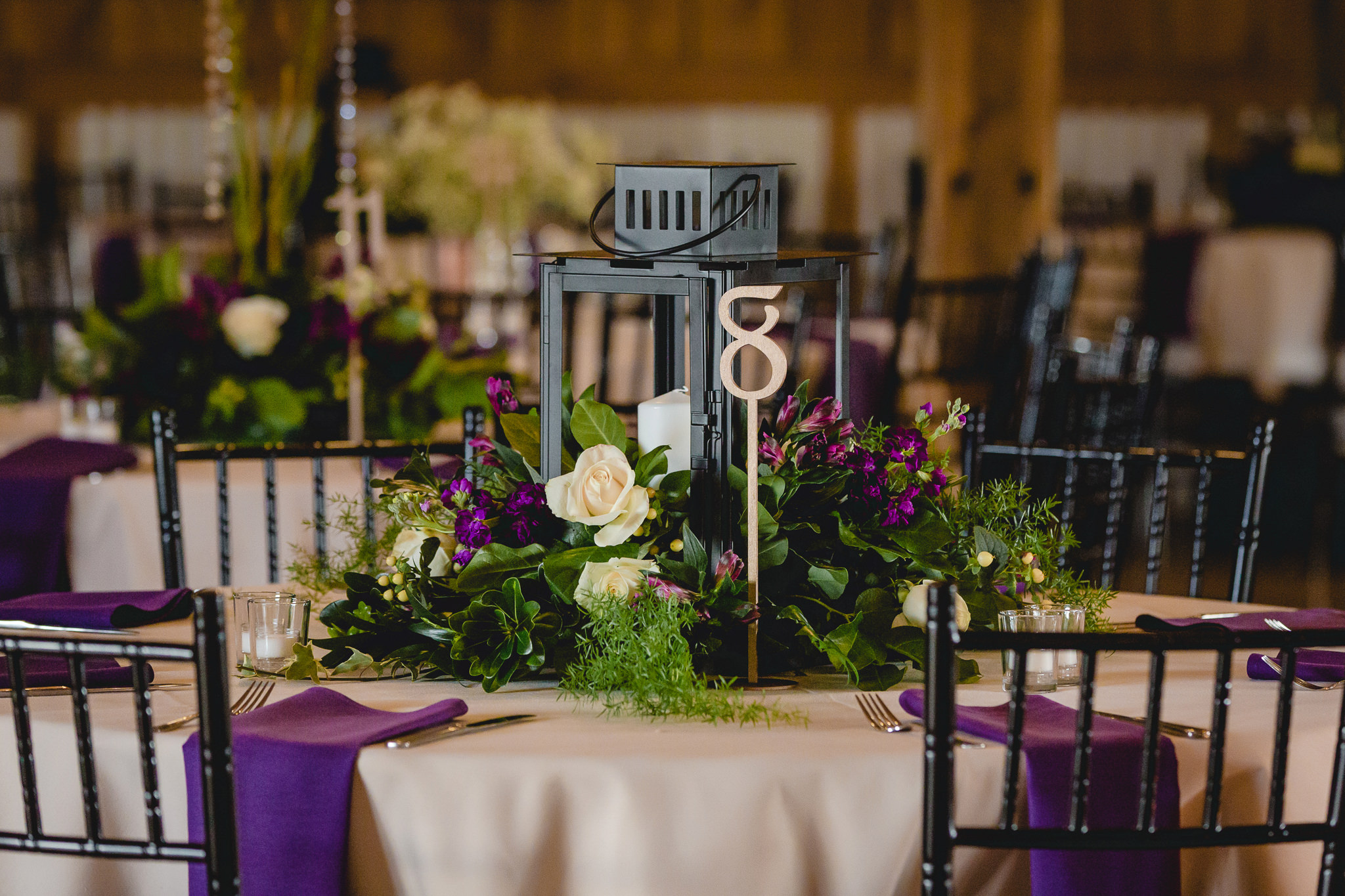 Lantern centerpieces at a September wedding at White Barn