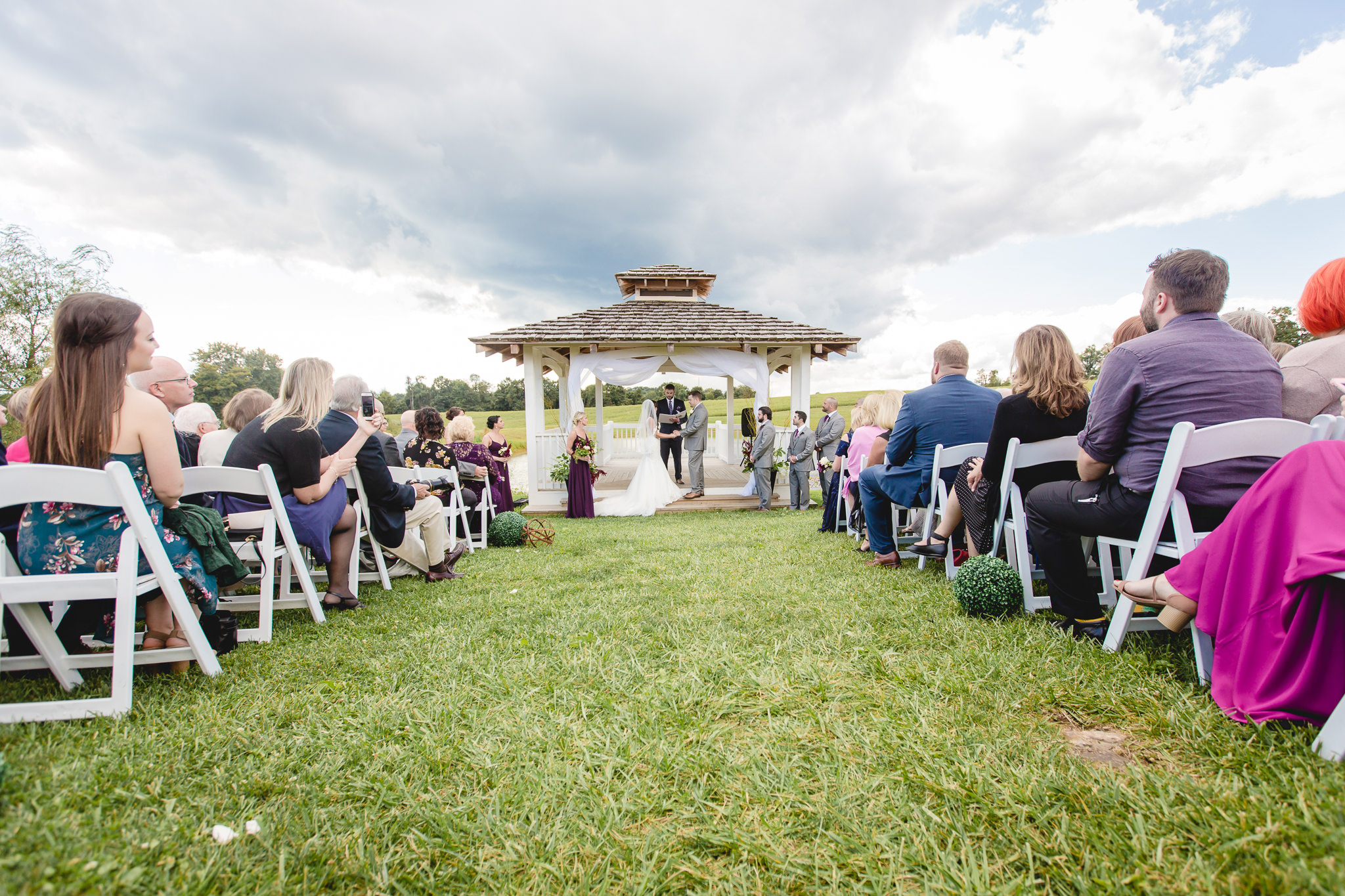 Outdoor wedding ceremony at White Barn in Prospect PA