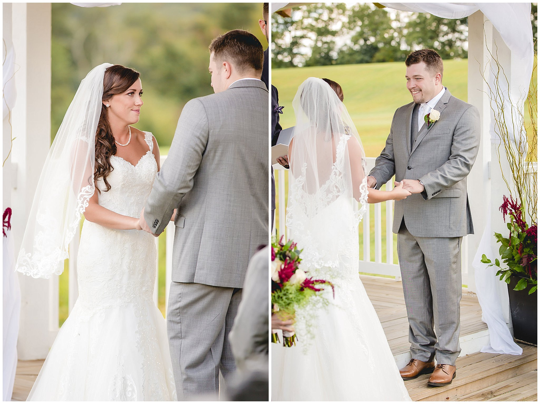 Bride and groom smile at each other during their outdoor wedding ceremony at White Barn