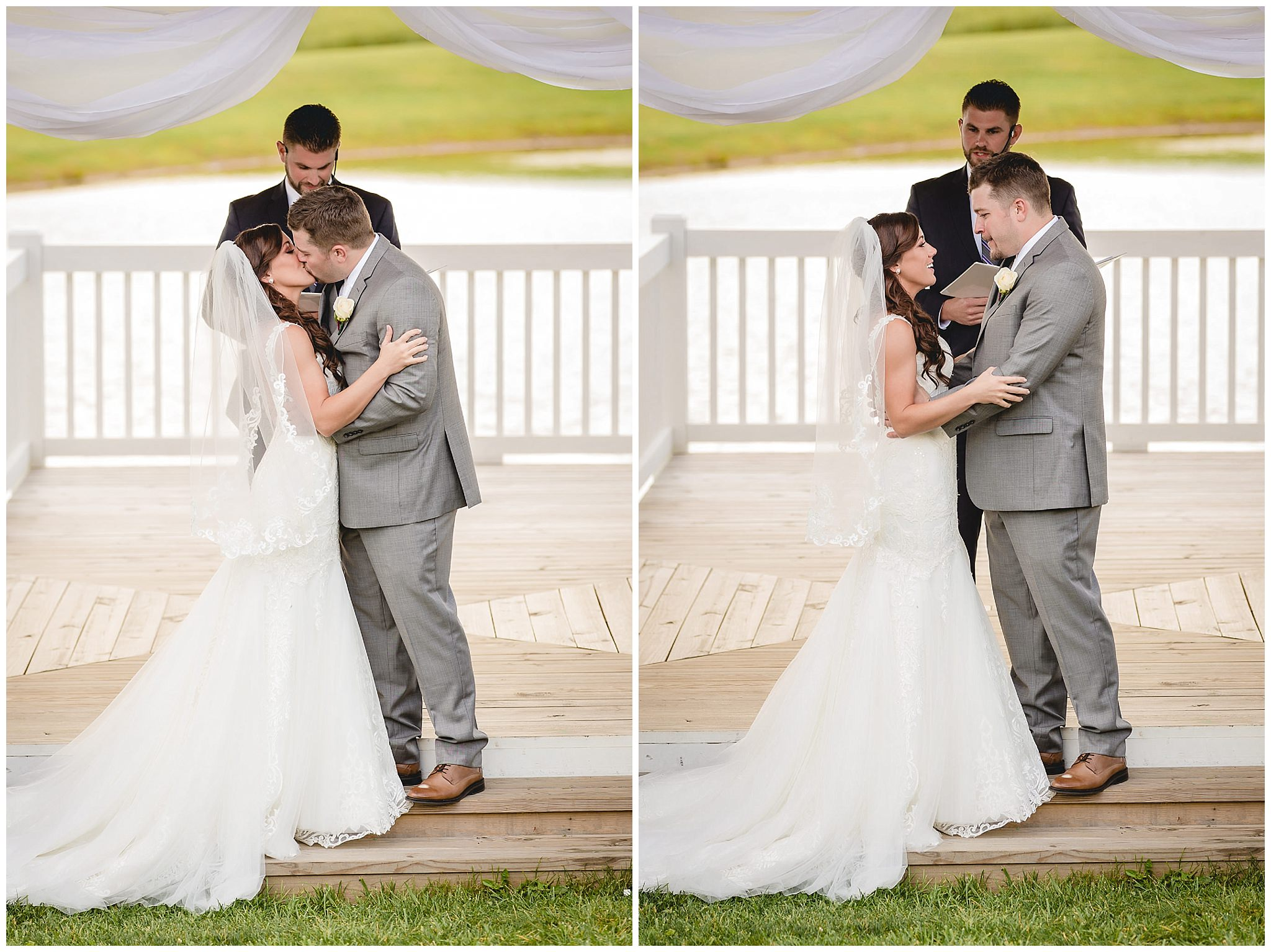 Bride and groom share a first kiss at their White Barn wedding ceremony