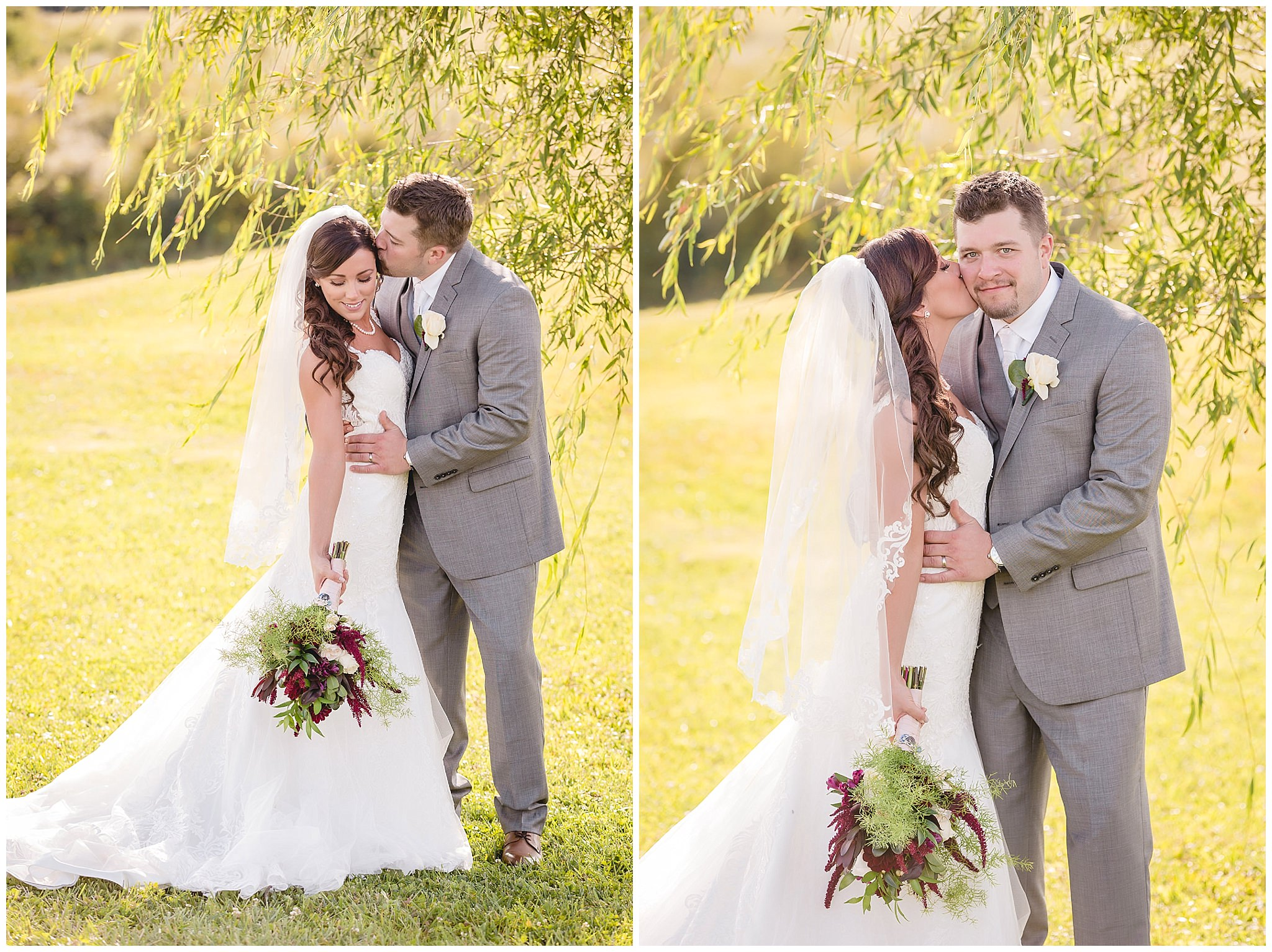 Bride and groom pose for portraits under a tree at the White Barn