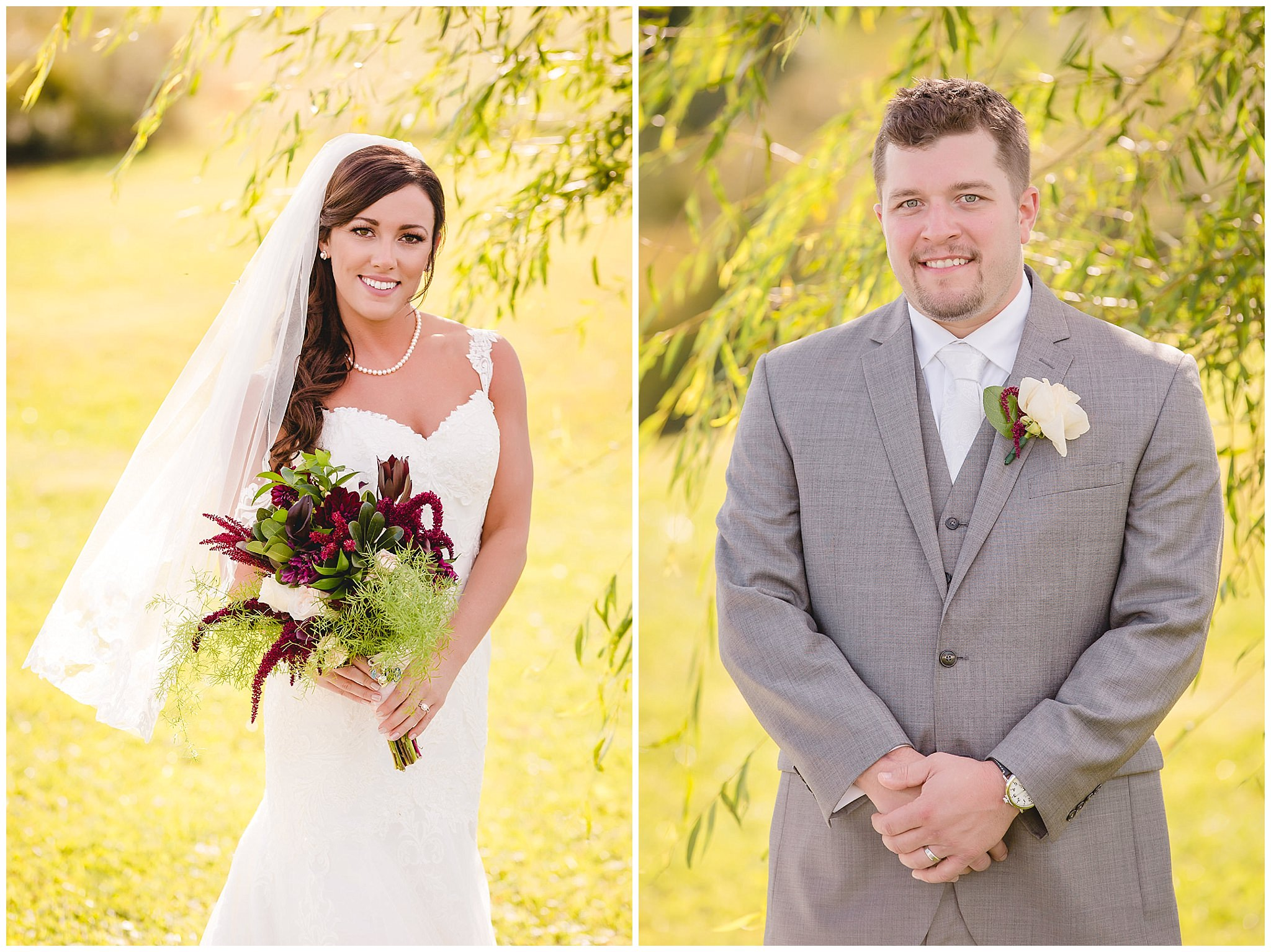 Bride and groom portraits at White Barn