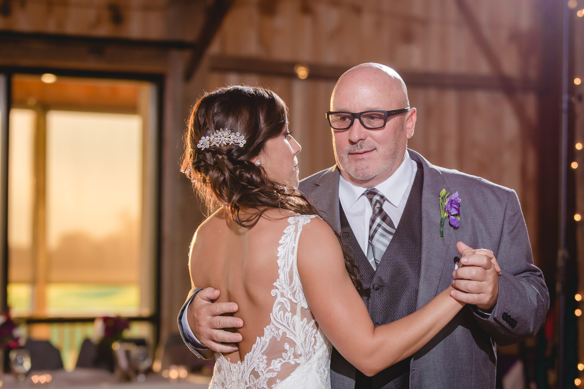 Father daughter dance at a White Barn wedding reception