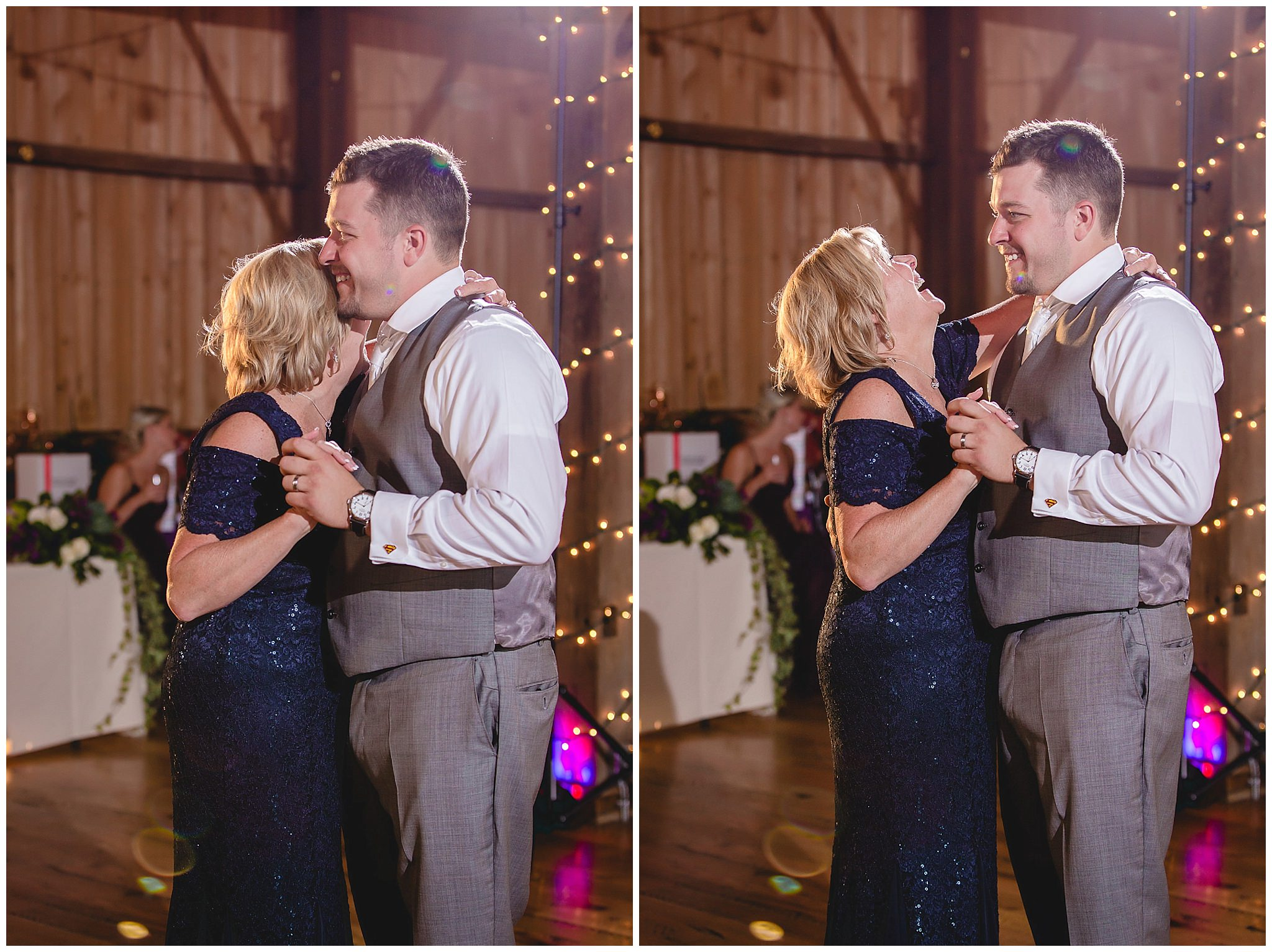 Mother son dance at a White Barn wedding reception