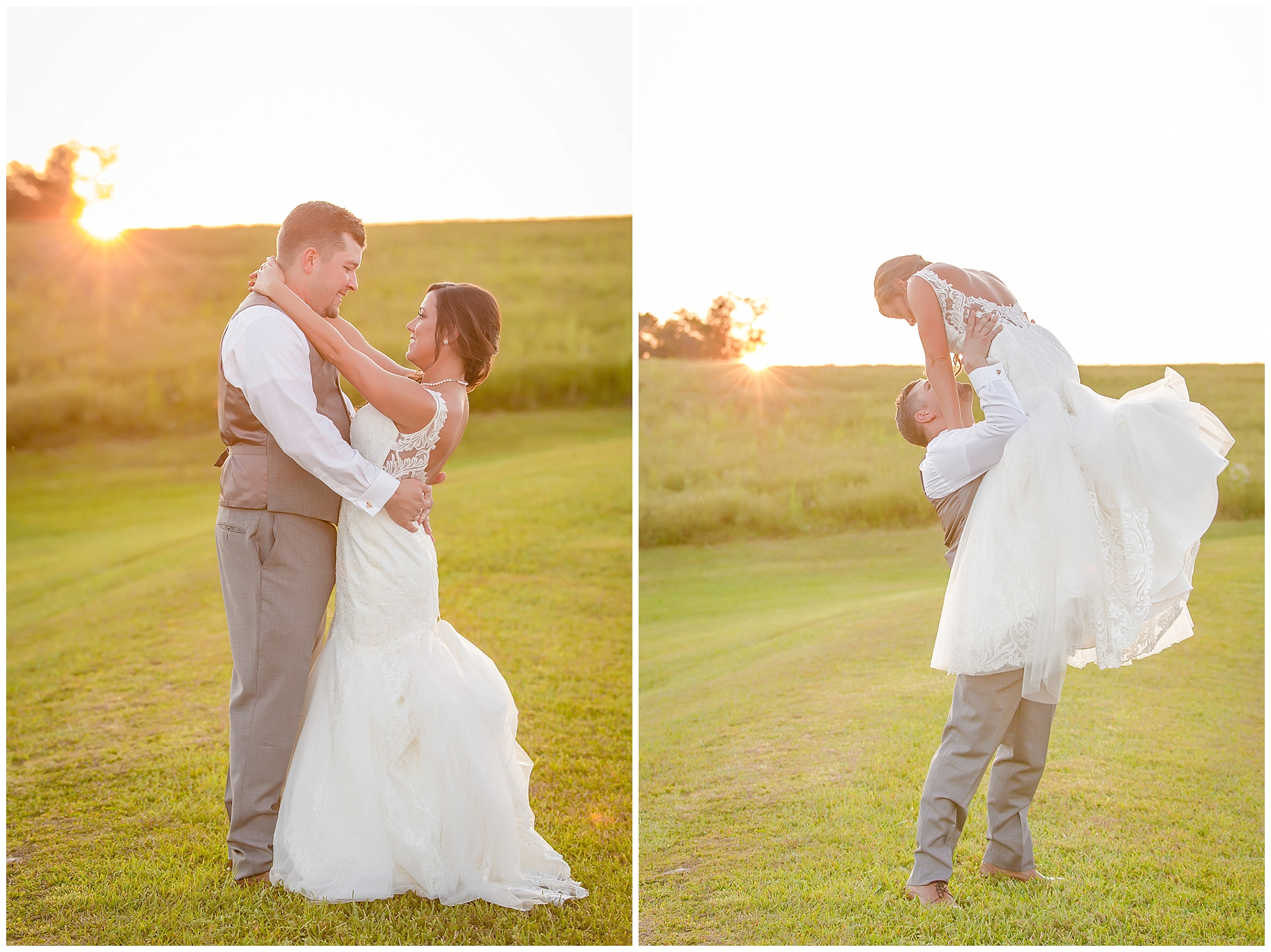 Bride and groom dance at sunset at White Barn
