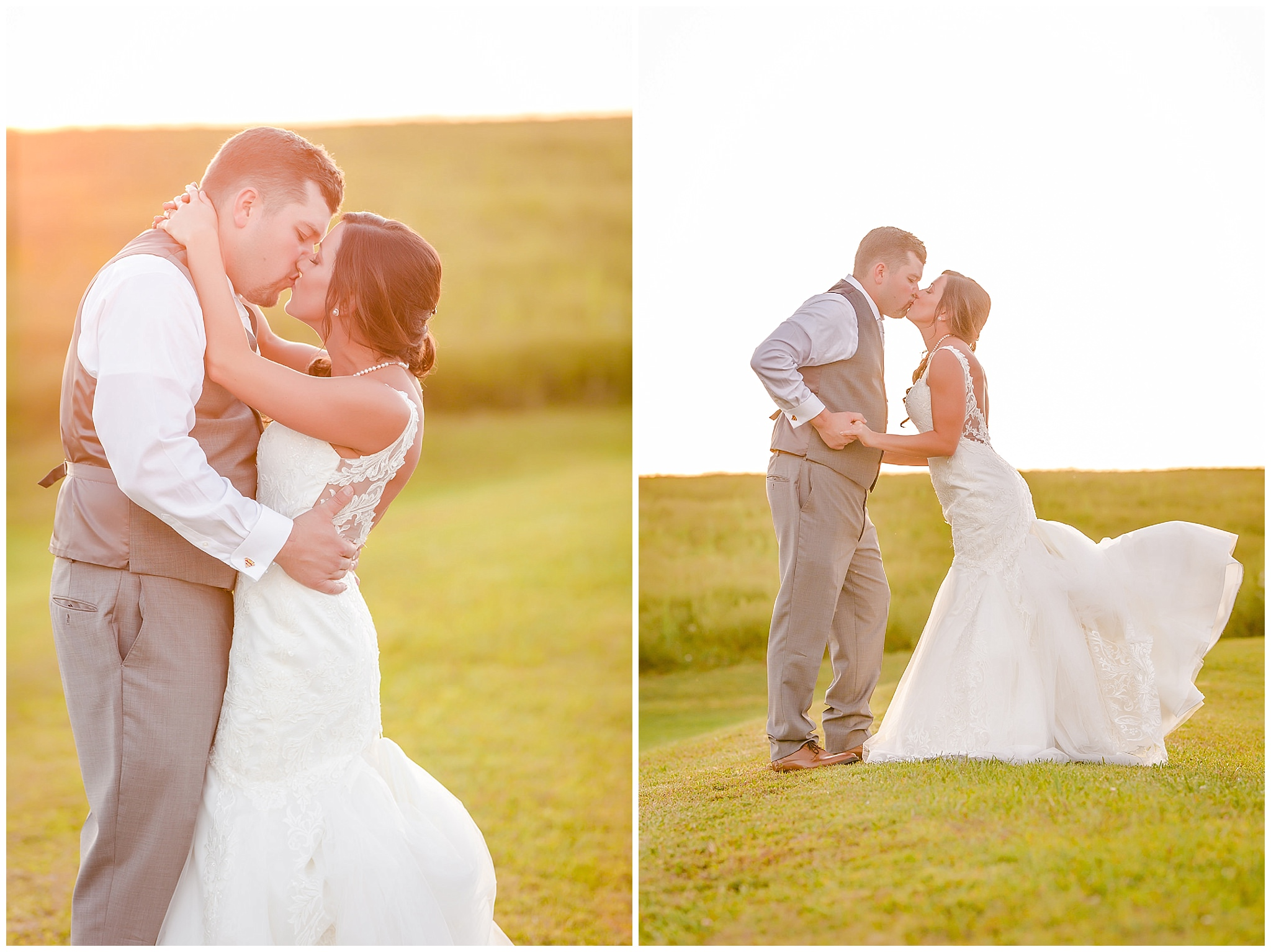 Bride and groom kiss in the sunset at their White Barn wedding